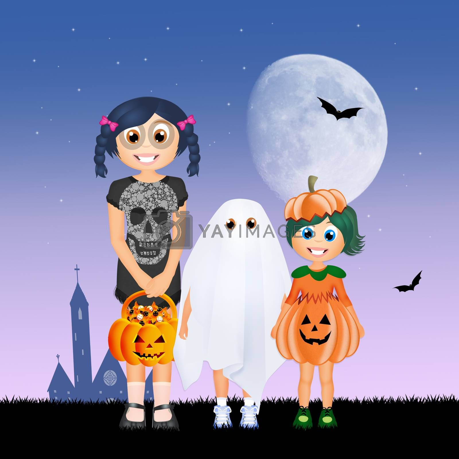 illustration of children masquerade for Halloween