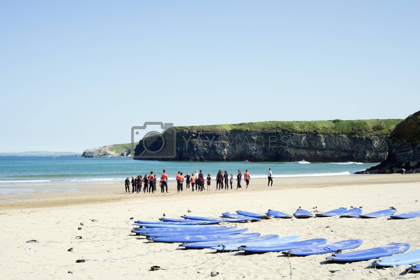 people training at surf school on ballybunion beach in county kerry ireland