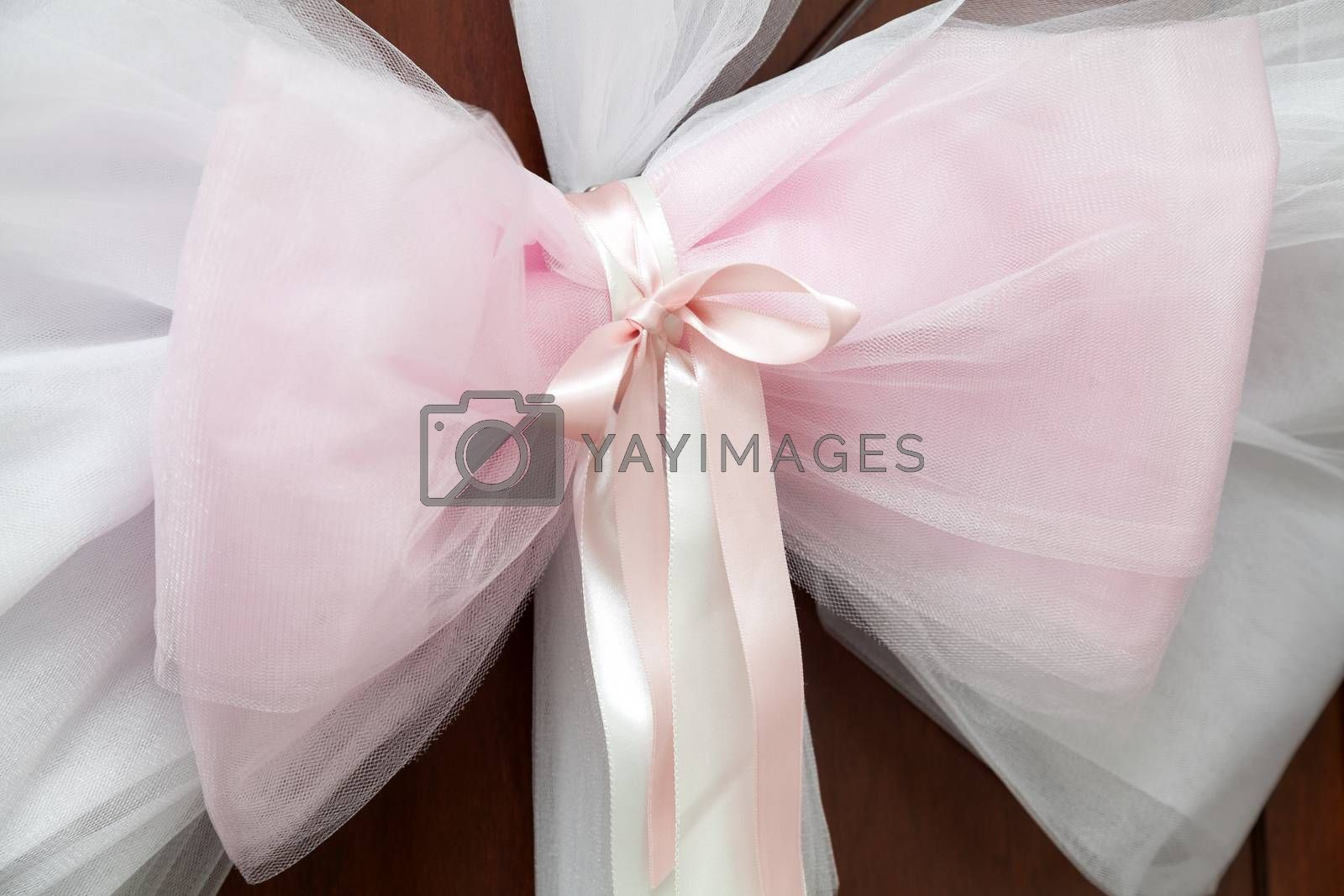 Wedding concept with bow of tulle