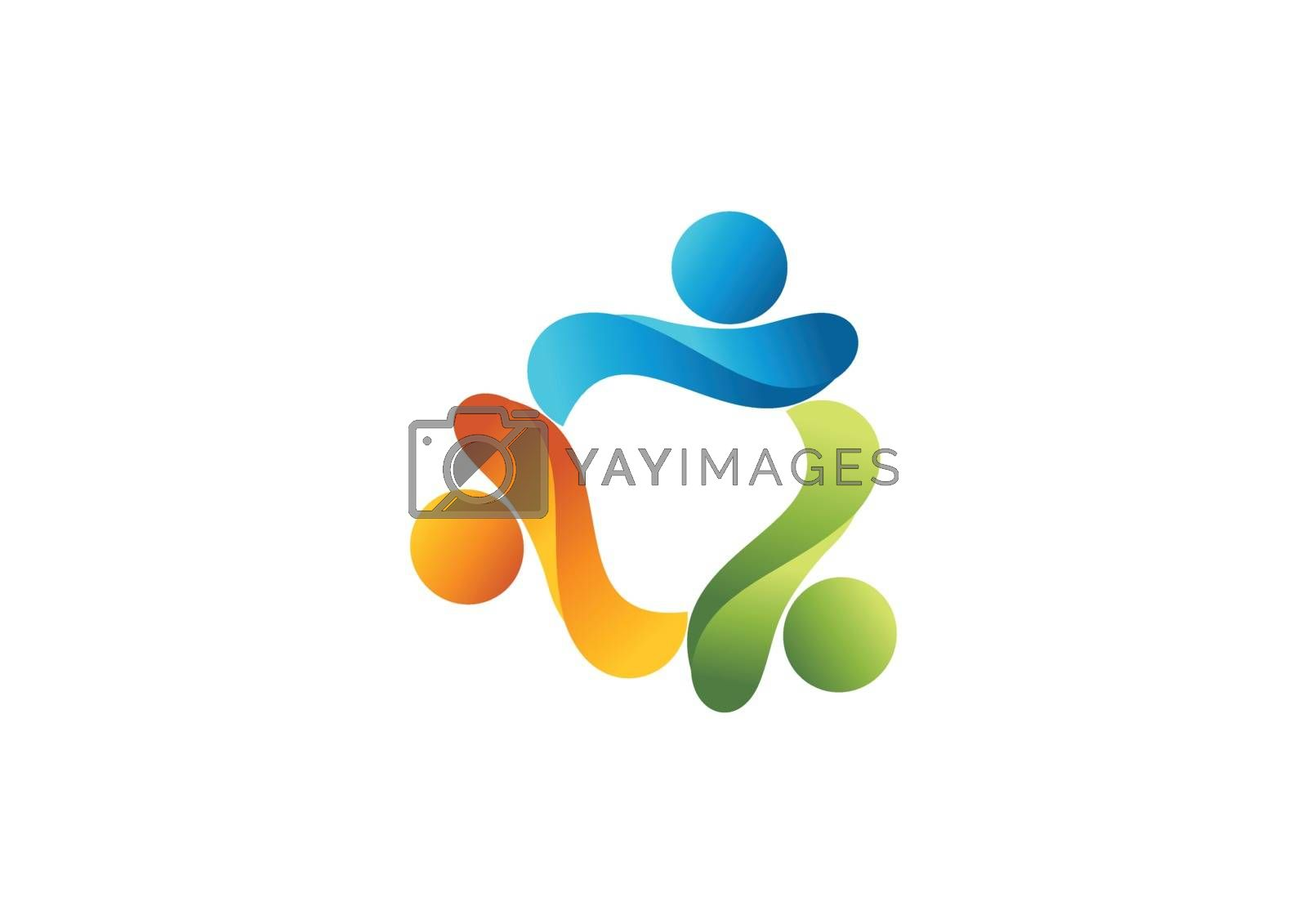 an graphic represent teamwork logo design template isolated in white background.