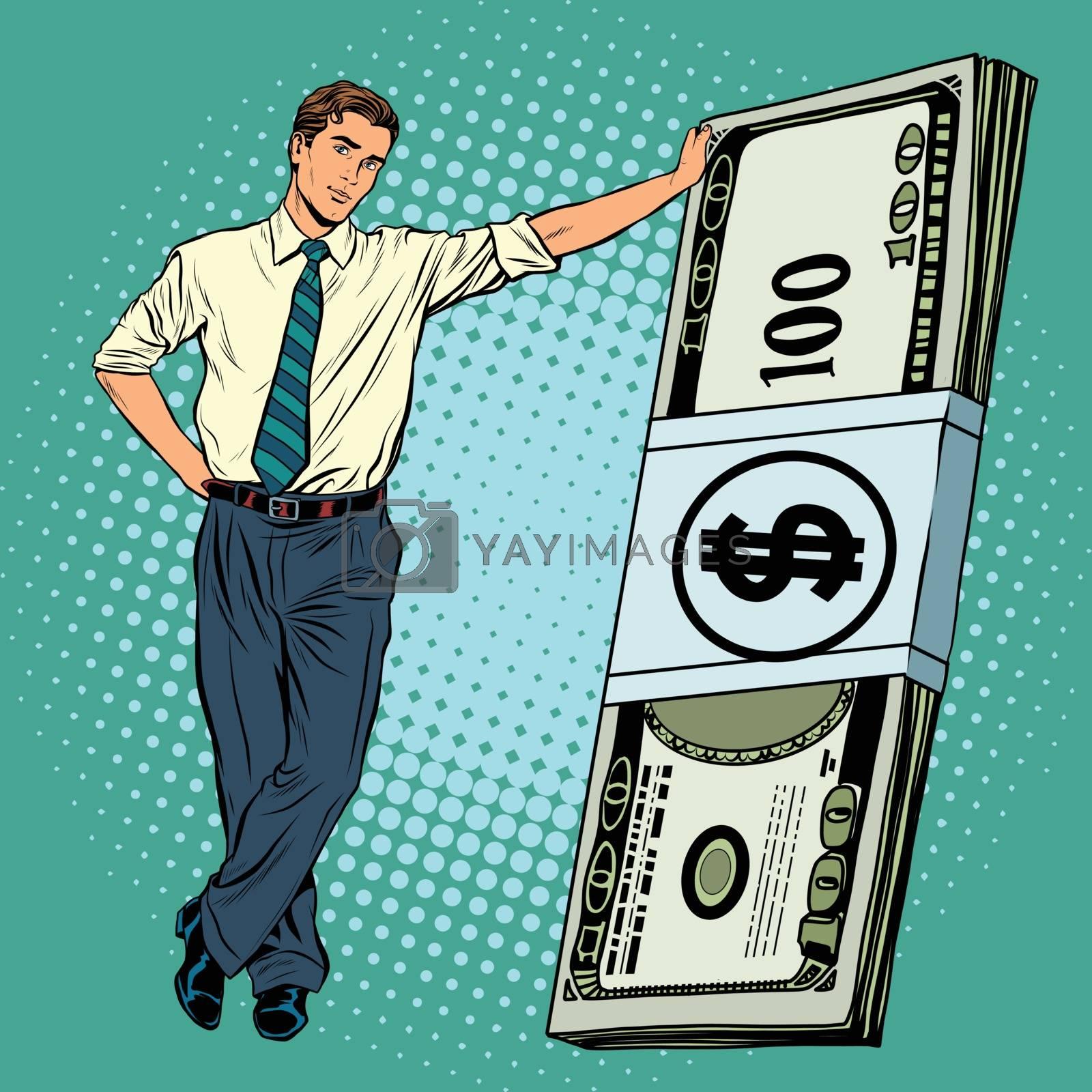 Business man with money pop art retro vector. Financial success
