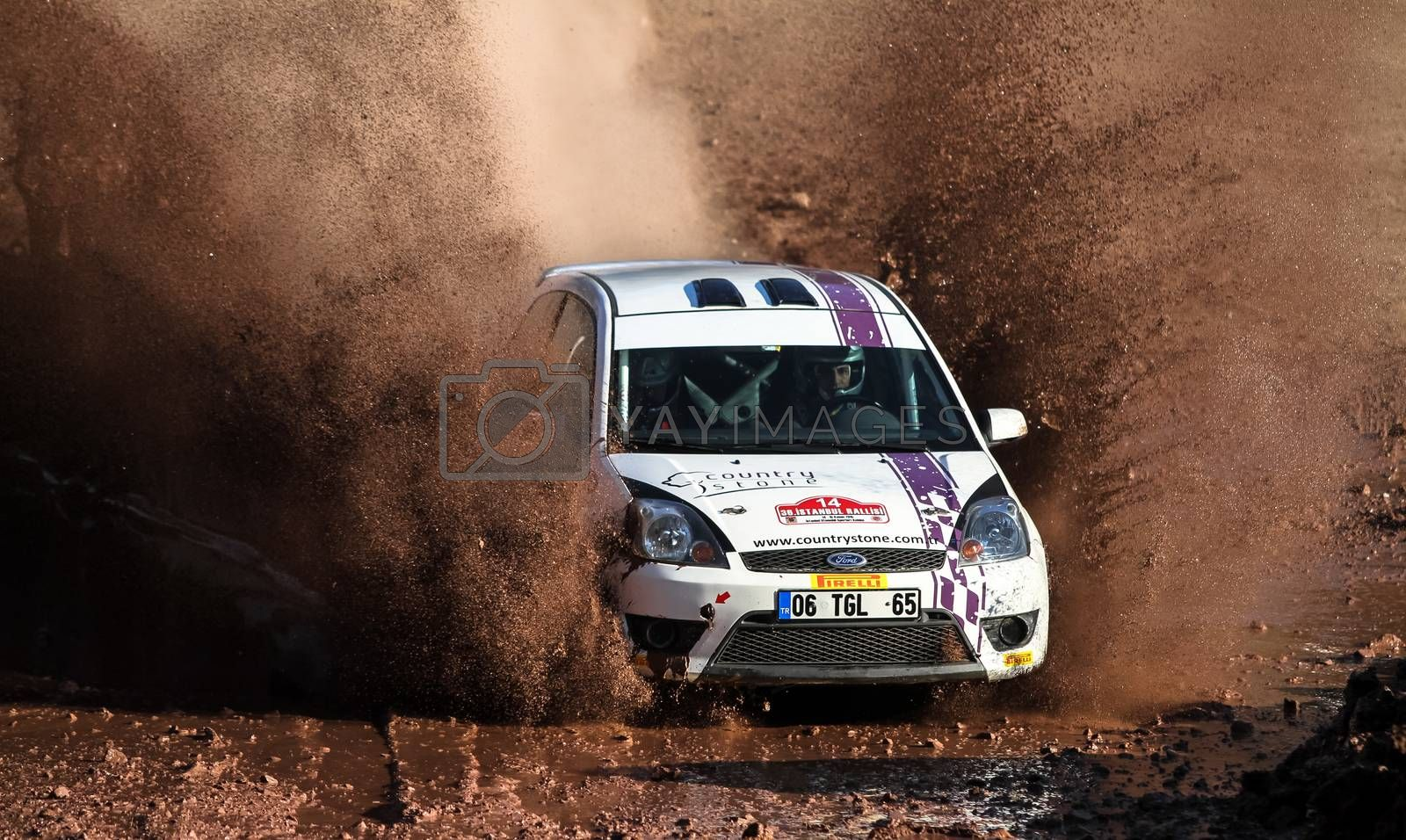 ISTANBUL, TURKEY - NOVEMBER 14, 2015: Turgay Ozdemir drives Ford Fiesta ST in Isok Istanbul Rally 2015, Gocbeyli stage
