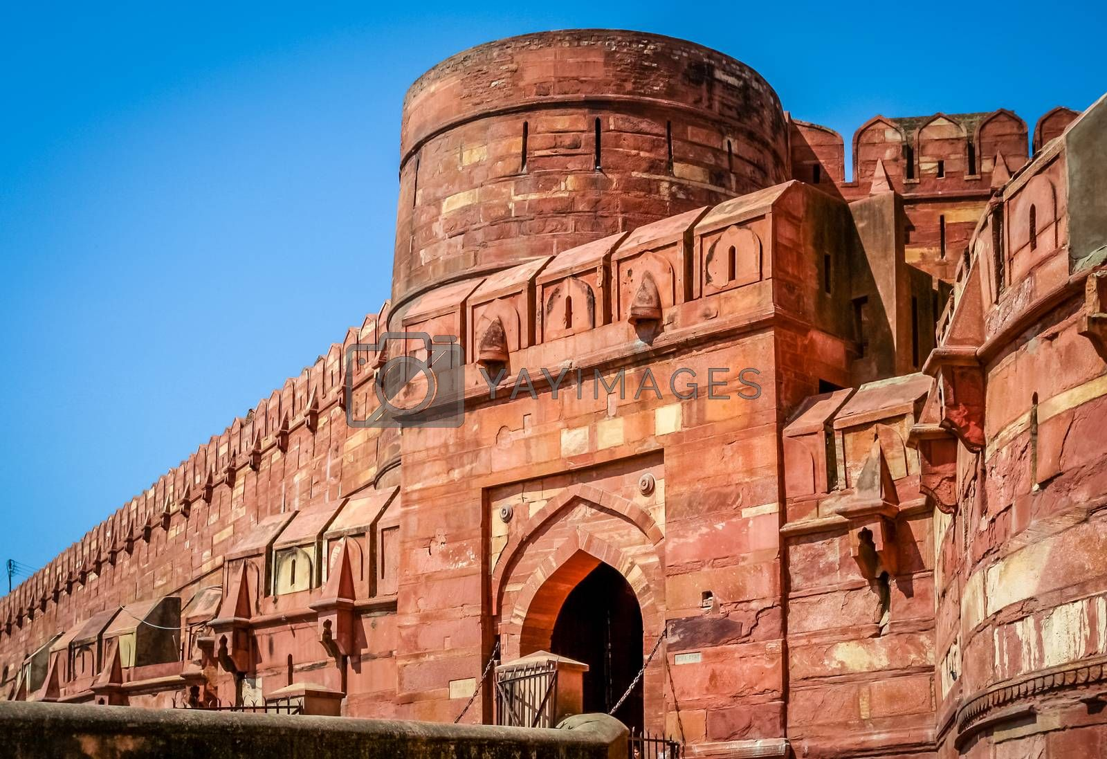 Massive walls of a Red Fort in Agra India