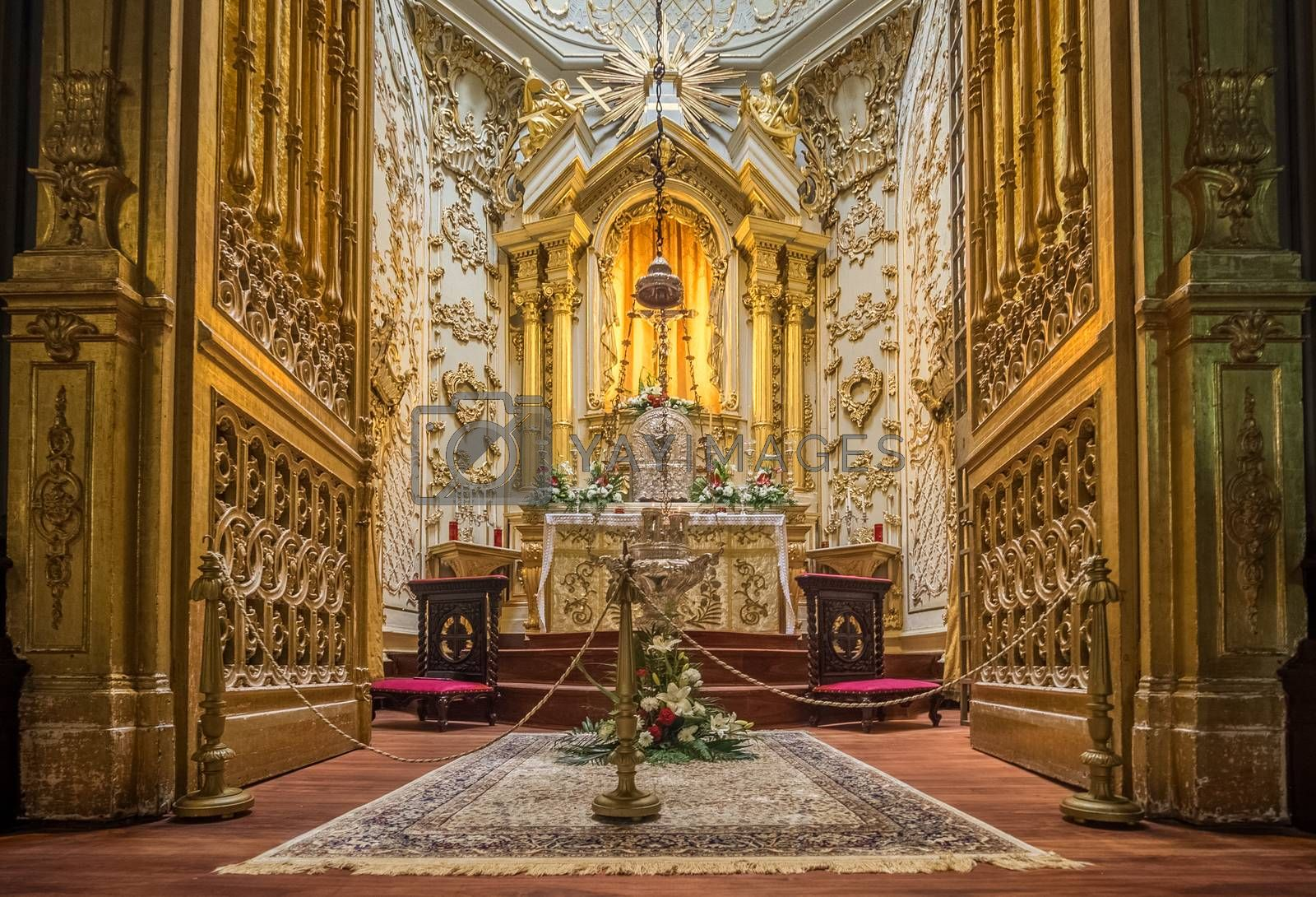 Stunning altar in the Church of San Sebastian in Ponta Delgada, Sao Miguel Island, Azores, Portugal. Picture taken 27th January 2016.