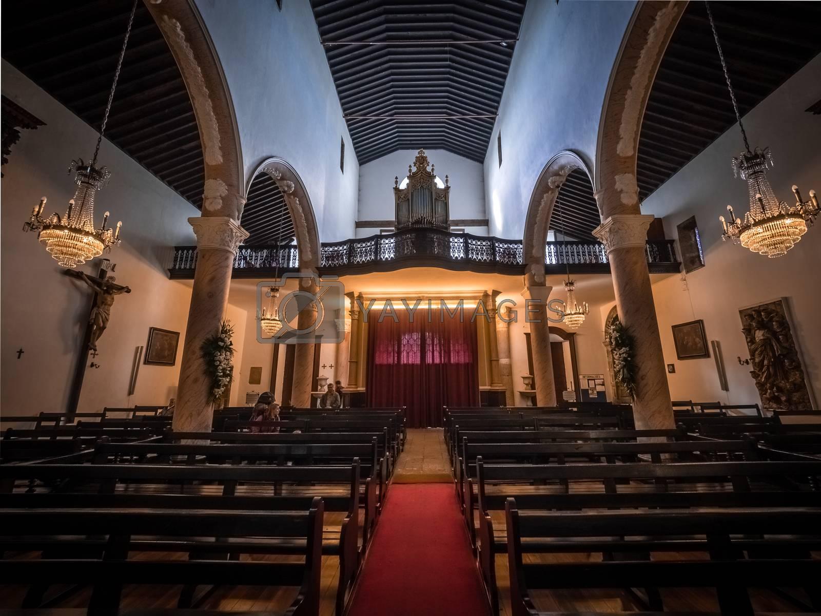 Beautiful interior of the Church of San Sebastian in Ponta Delgada, Sao Miguel Island, Azores, Portugal. Picture taken 27th January 2016.