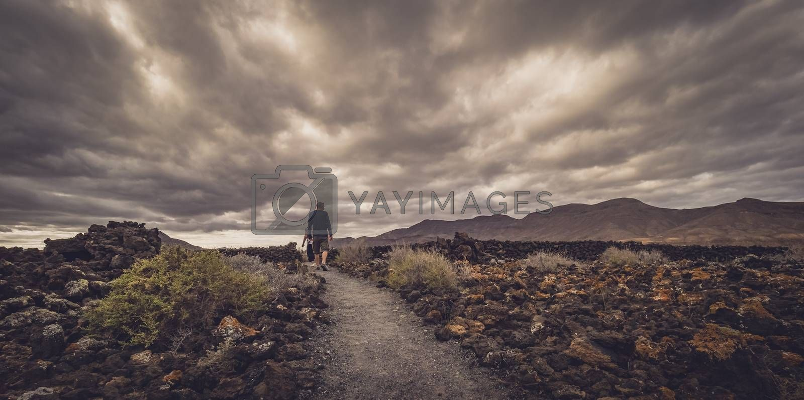 Royalty free image of Man walking on a path by pawopa3336