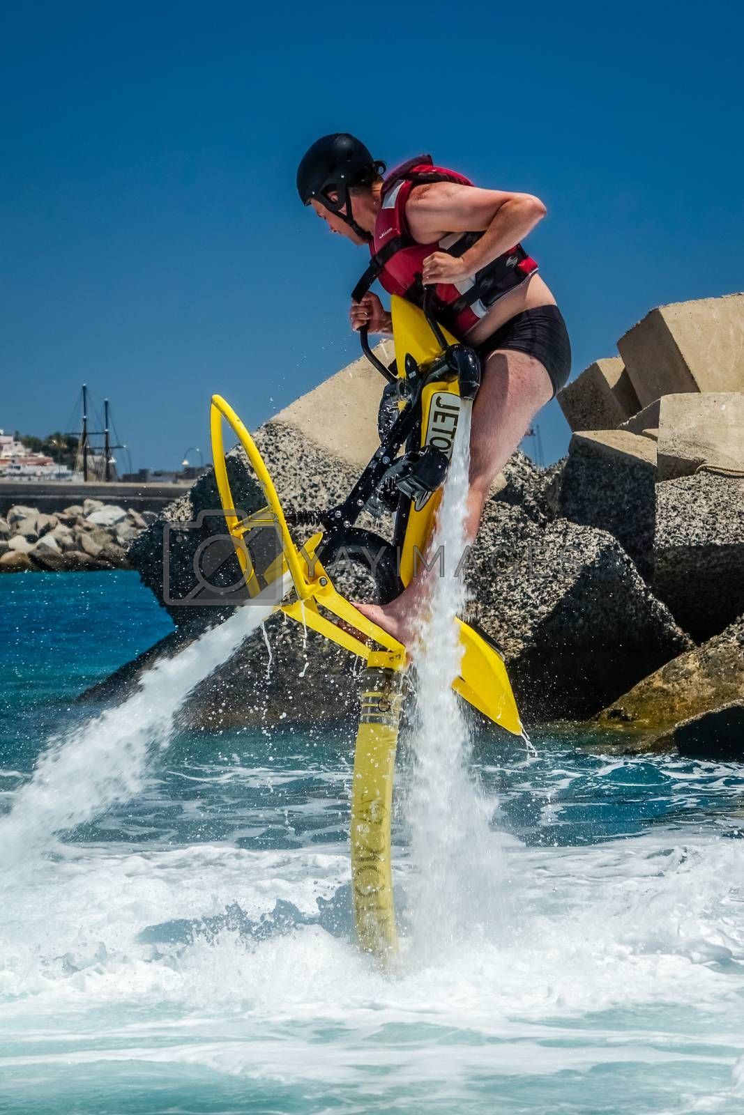 Man trying to get hovering above water on a jet ski in Gran Canaria, Spain. Picture taken on the 8th May 2015.