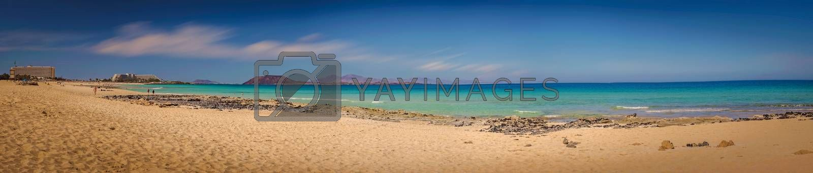 Royalty free image of Wide sandy beach of Corralejo by pawopa3336