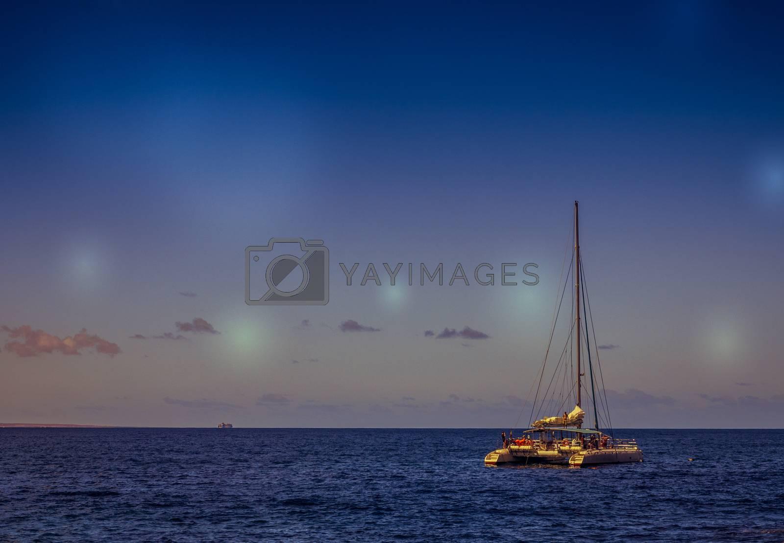 Royalty free image of Catamaran on sea by pawopa3336