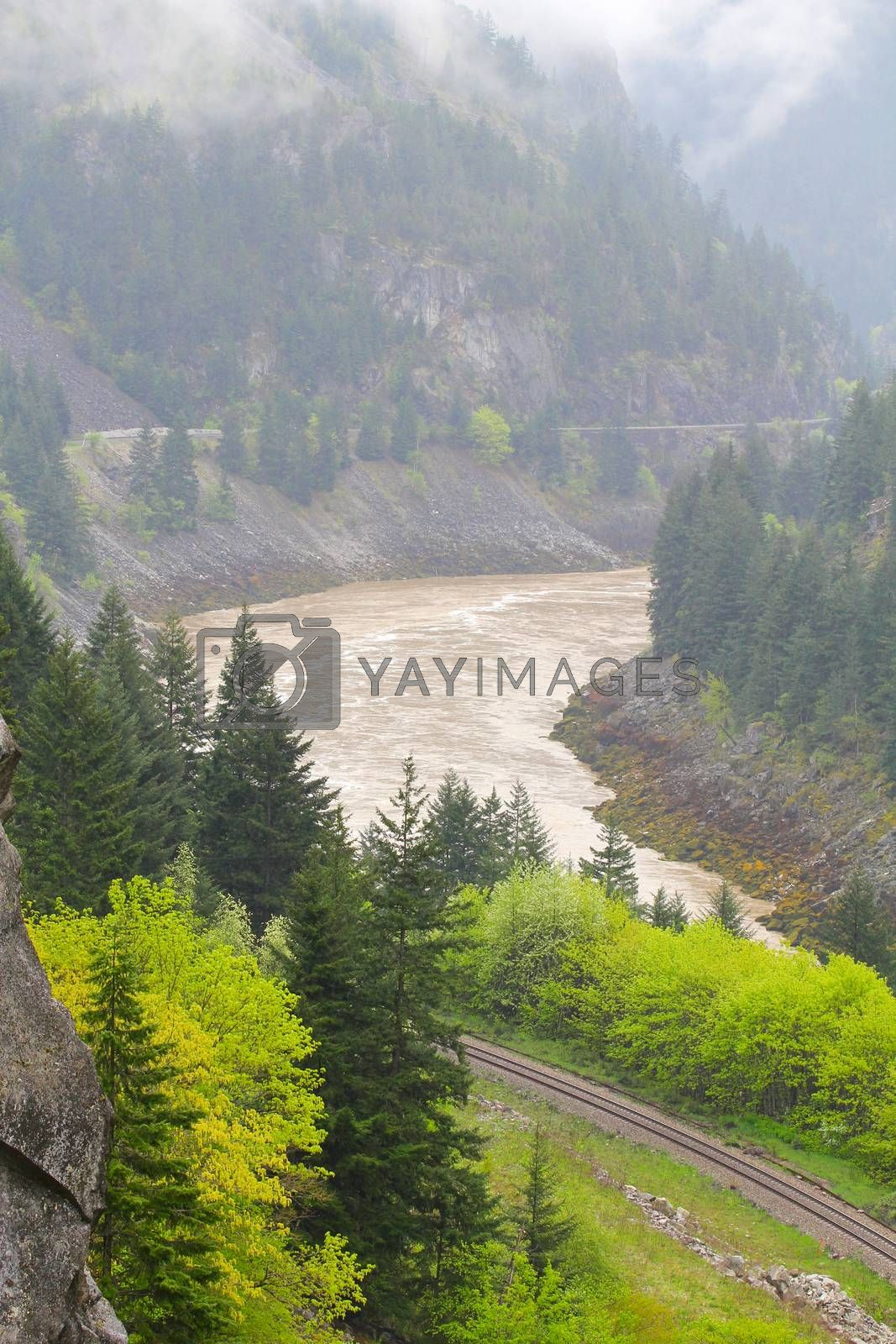 Railway lines at Frazer Canyon, British Columbia, Canada