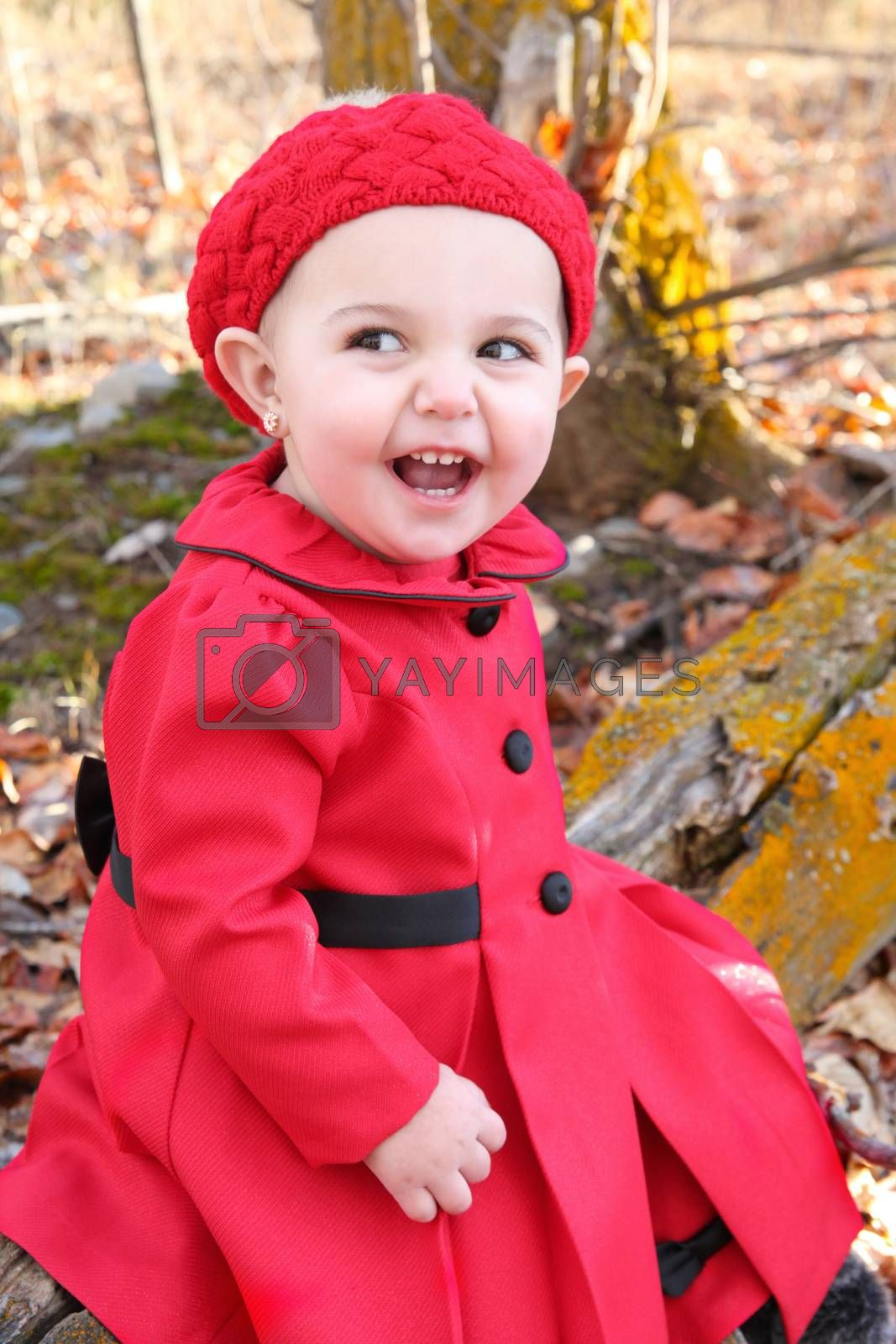 Little girl wearing a red coat and hat in the forest