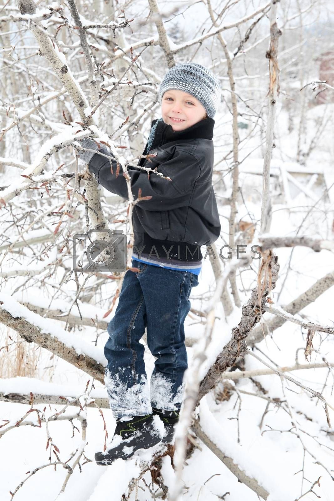 Young boy playing outside on a snowy day