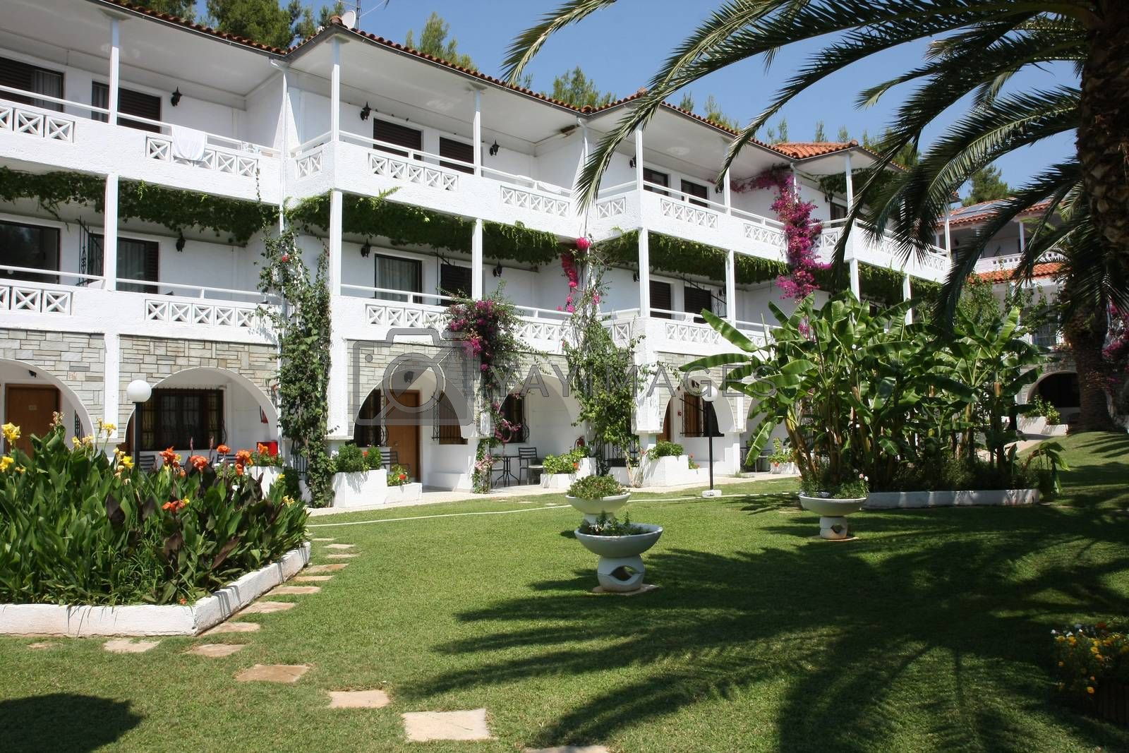 NIKITI,GREECE-JUl  07 , 2016: View at inboard garden in Porfi Beach hotel,Greeece