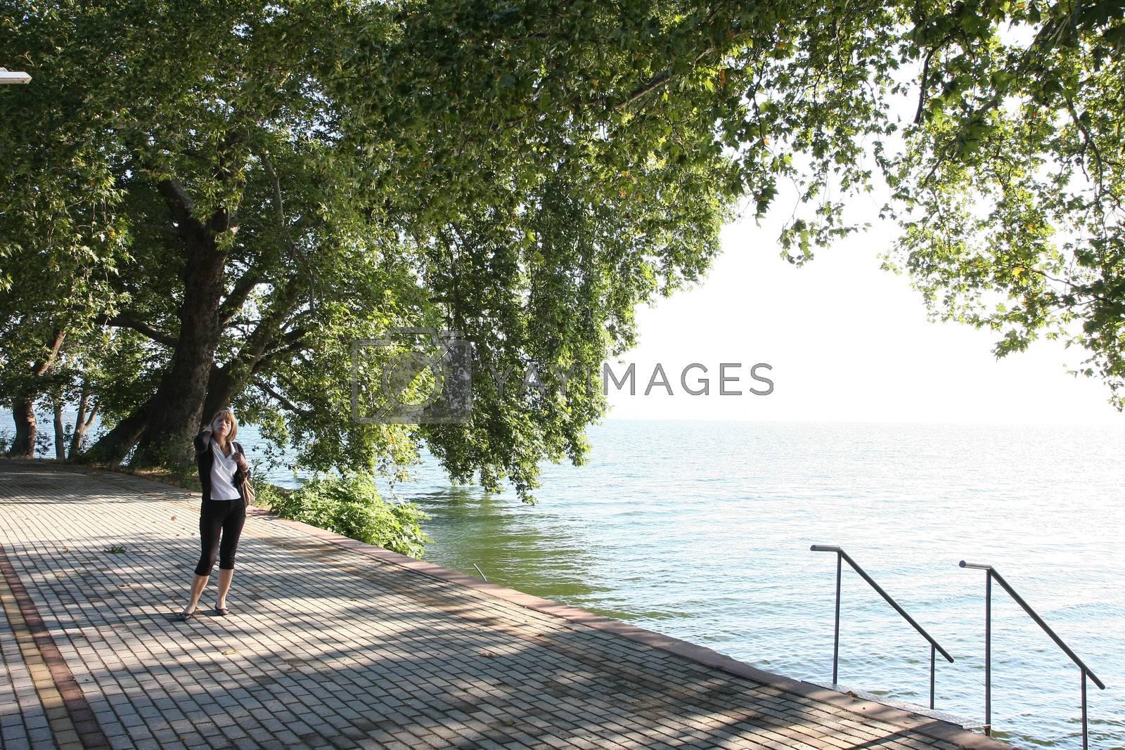 Lady posing near Dojran lake,Macedonia