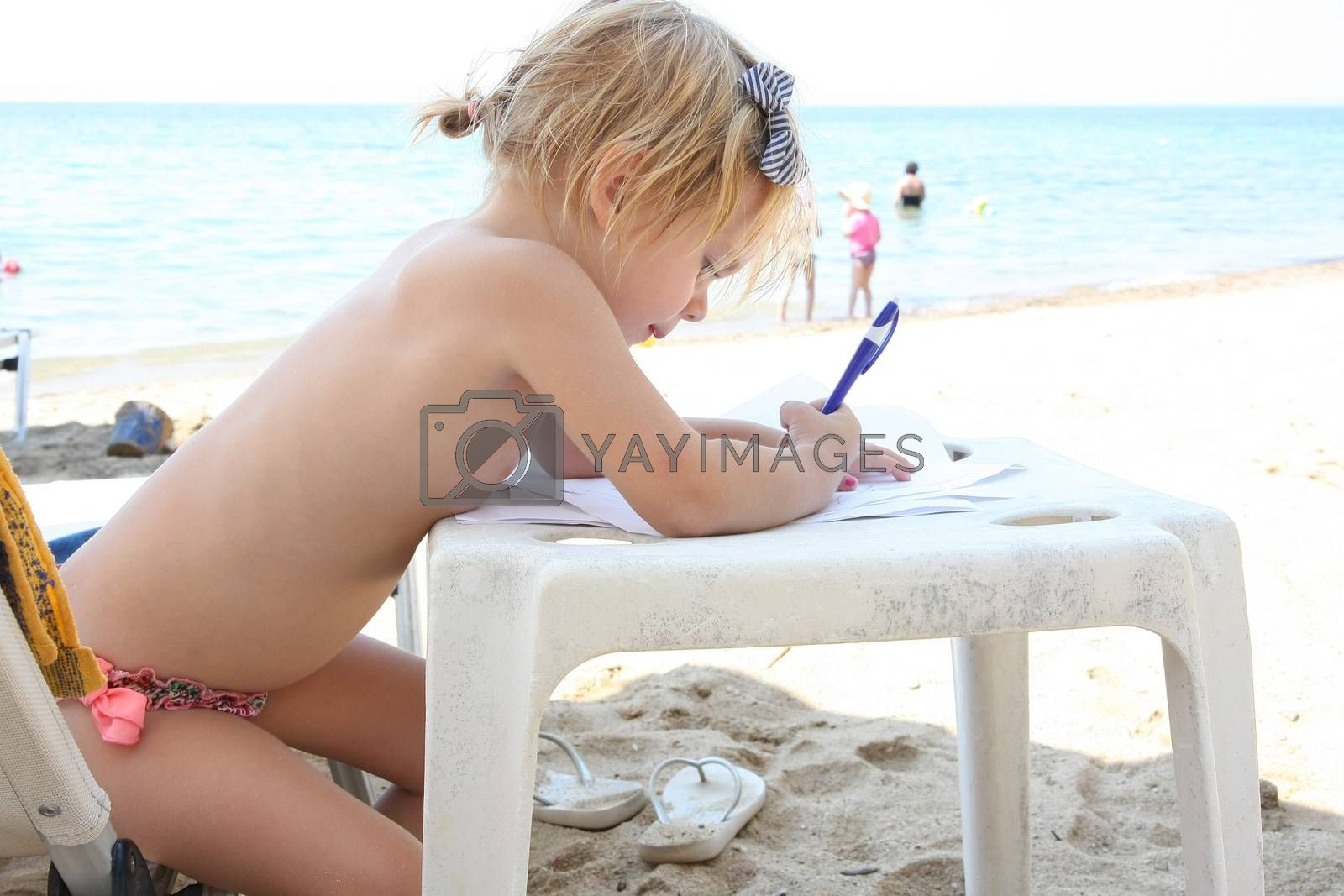 Baby girl drawing on the beach by tdjoric