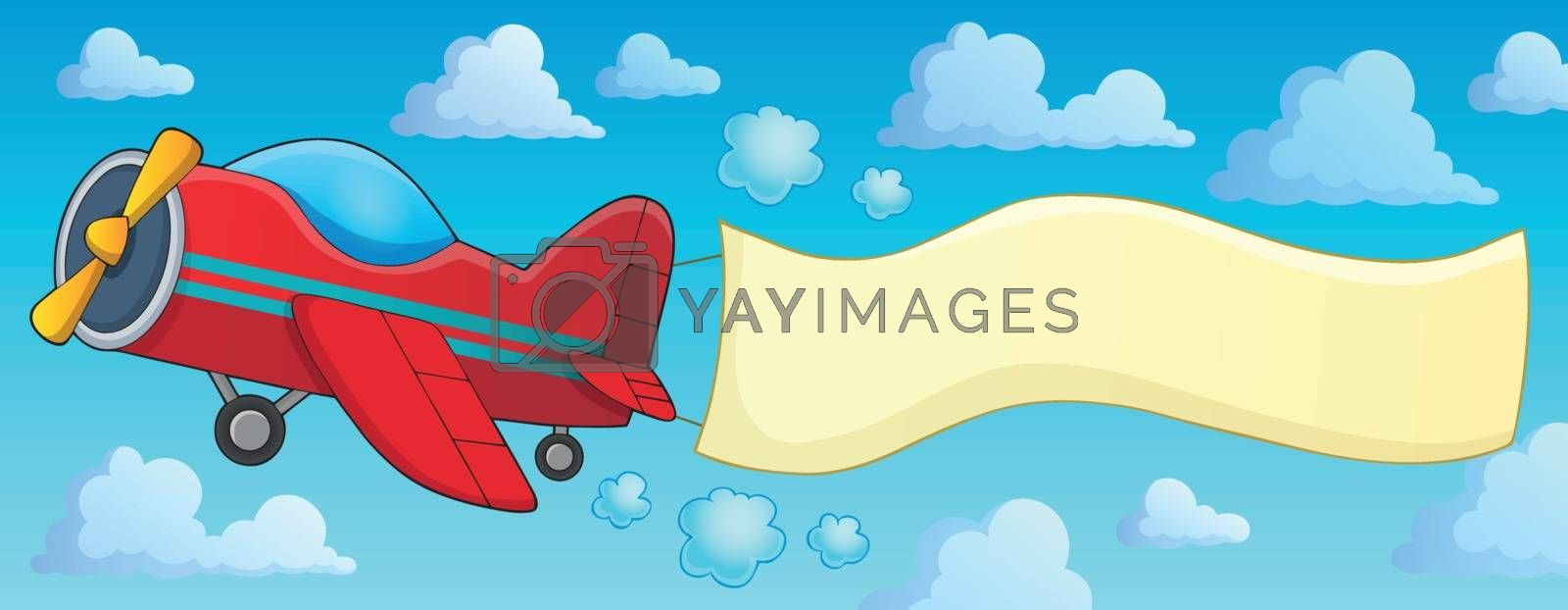 Retro airplane with banner theme 3 - eps10 vector illustration.