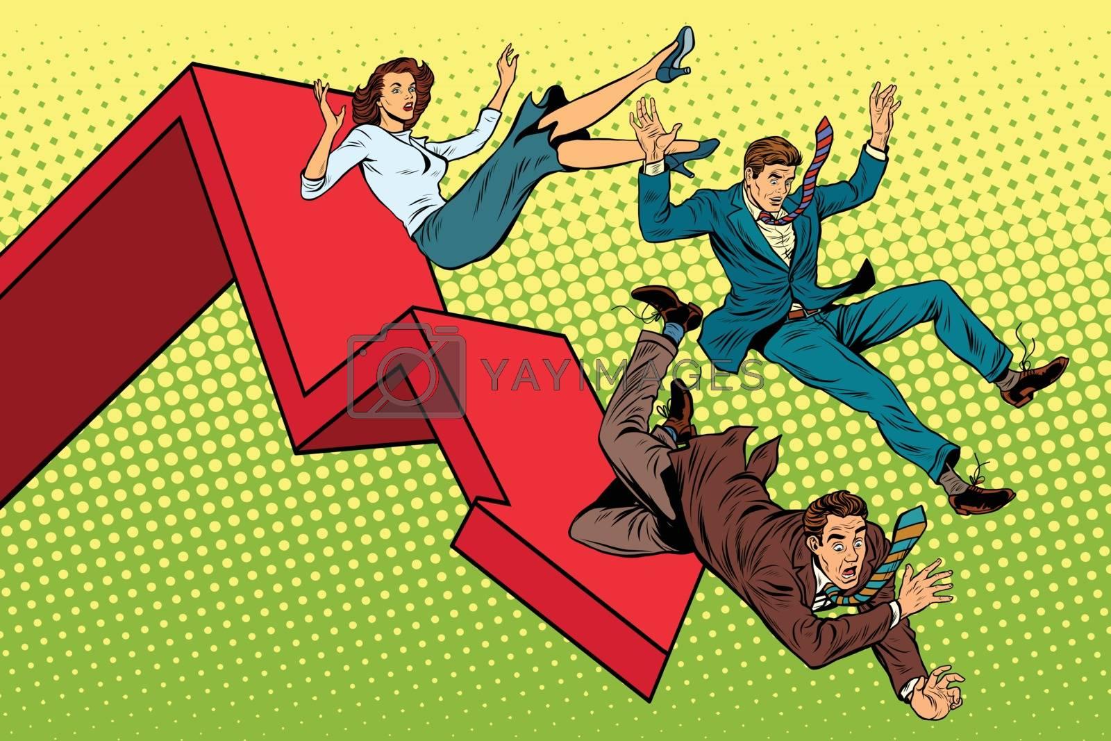 Business men and woman financial collapse pop art retro vector illustration