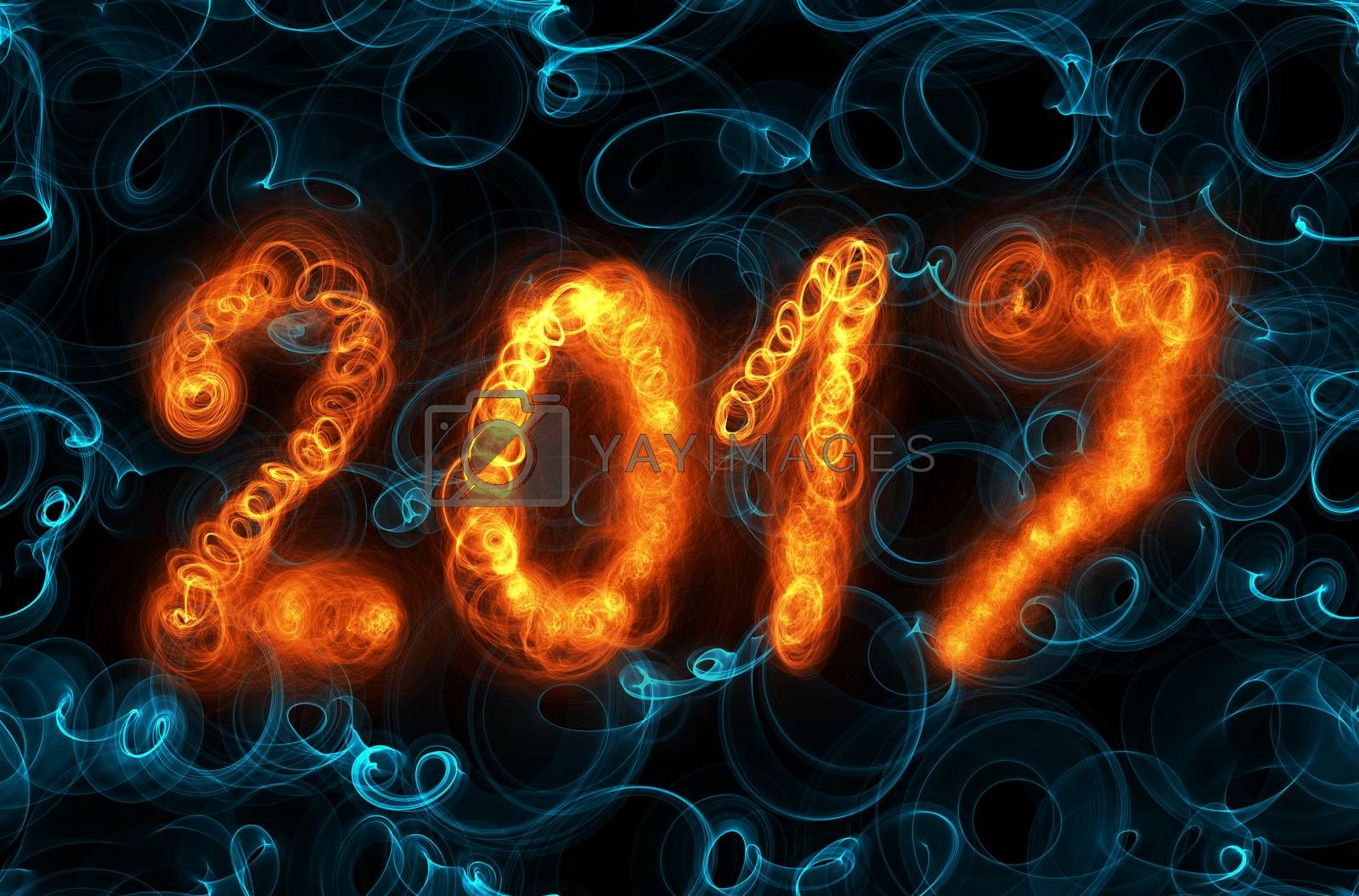 Happy new year 2017 isolated numbers written with flame light on dark seamless background.
