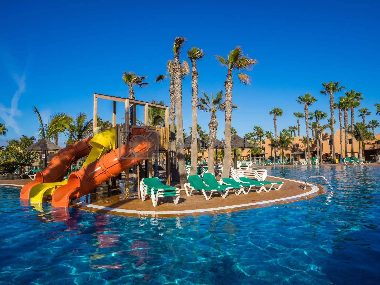 Slides for children at a large swimming pool in a resort in Canary Islands. Picture taken 11th April 2016 in Corralejo, Fuerteventura, Spain