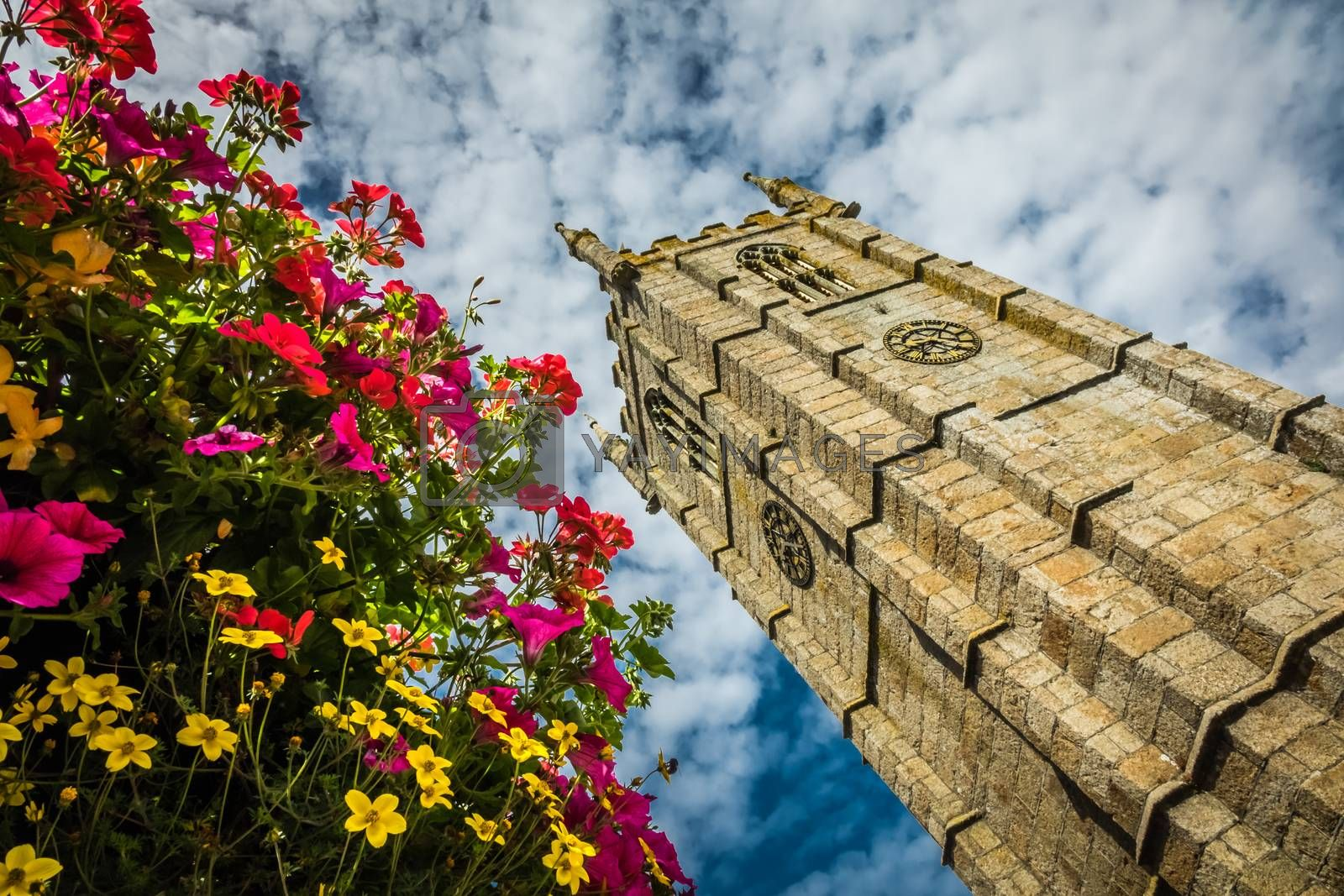 Clock tower of St Ia's Church in St. Ives, Cornwall, England
