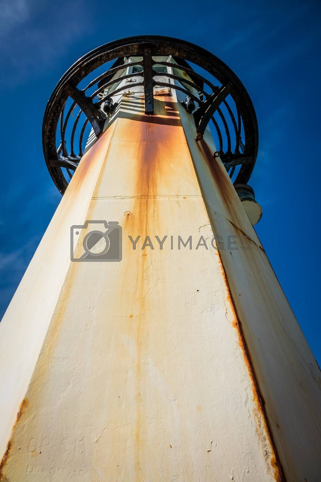 Lighthouse on the Smeatons Pierin the bay in St. Ives, Cornwall, England, UK, Europe