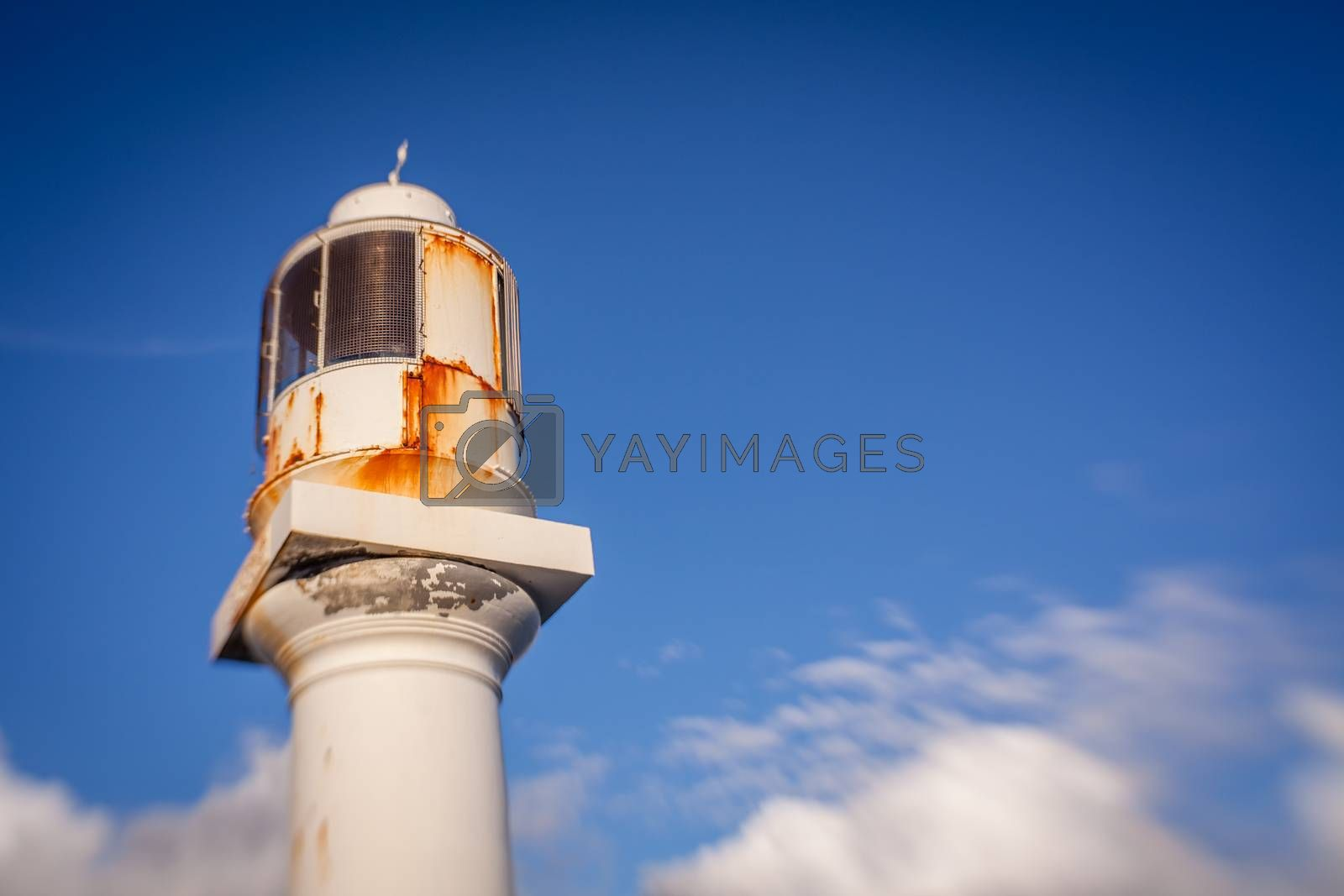 Small lighthouse at the entrance to the Penzance port and harbour