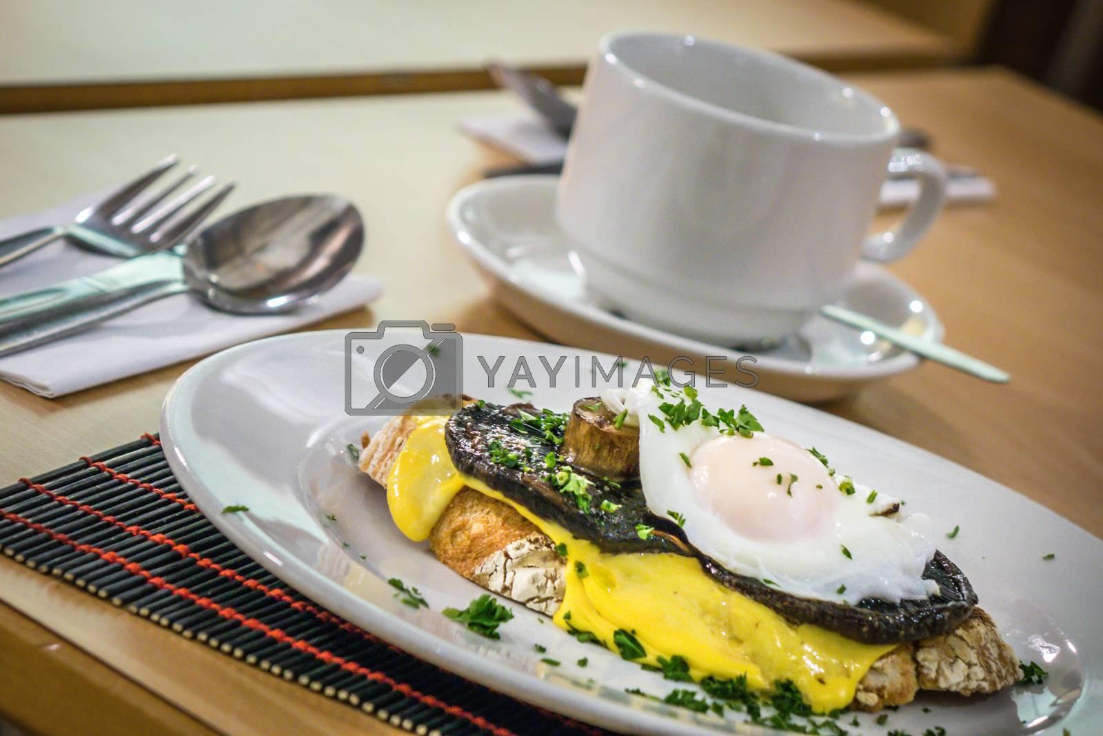 Mushroom Egg Benedict sandwich served for breakfast