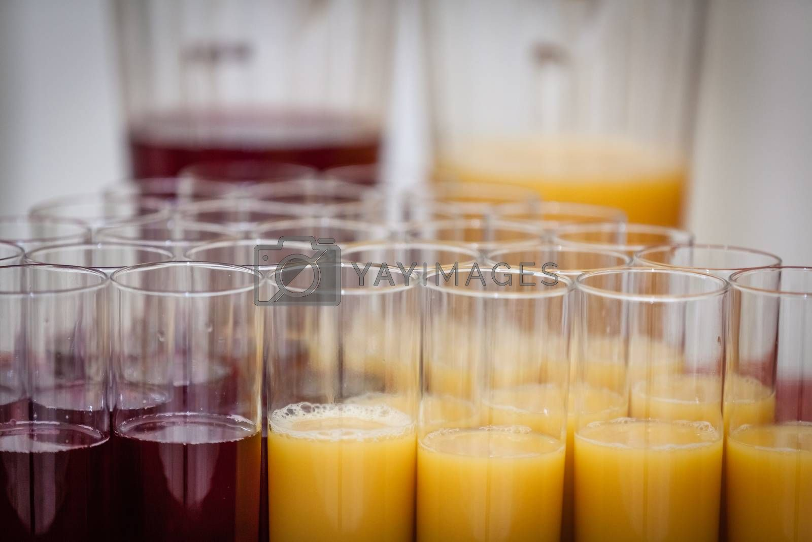 Glasses with soft drinks on a table at wedding reception