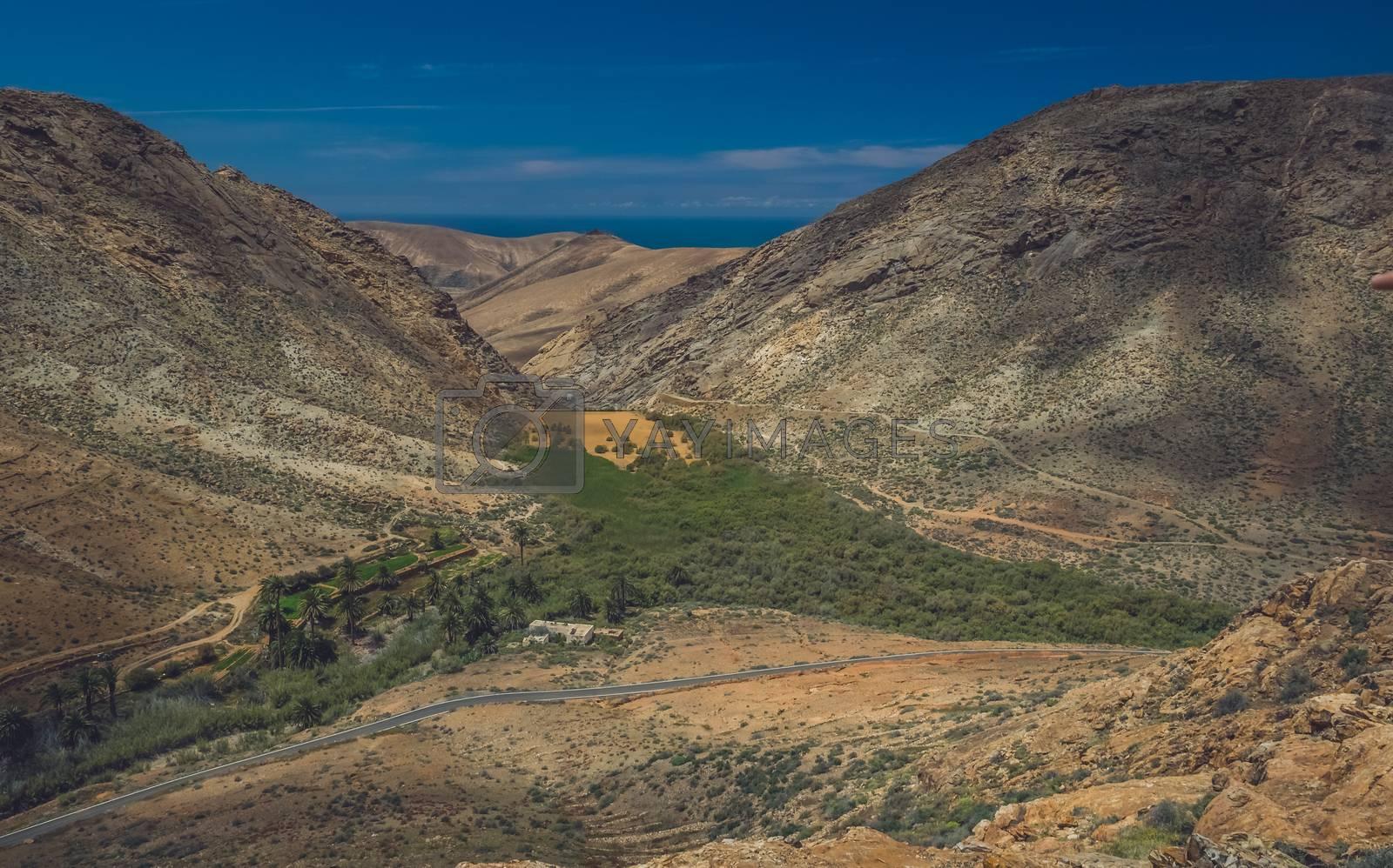 Penitas dam in the Pajara municipality in Fuerteventura, Canary Islands, Spain
