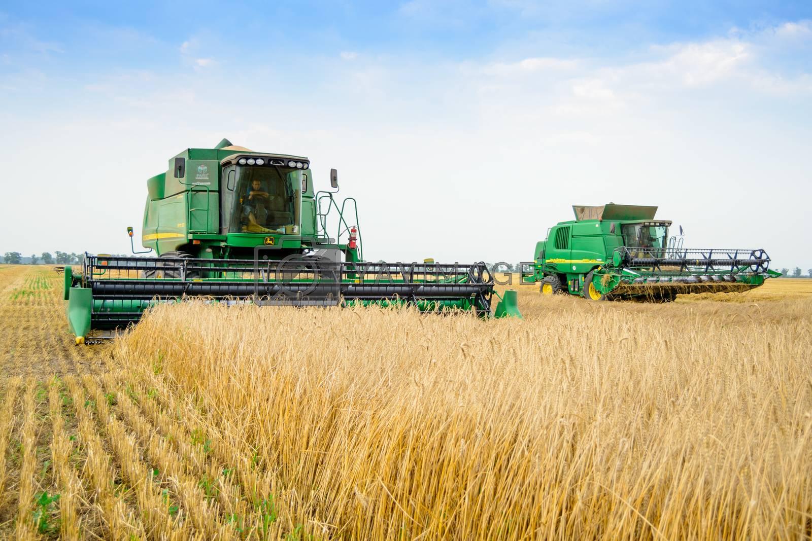 ZAPORIZHZHYA, UKRAINE - July 28, 2015: Two John Deere Combine Harvesters Harvesting Wheat in the Field.