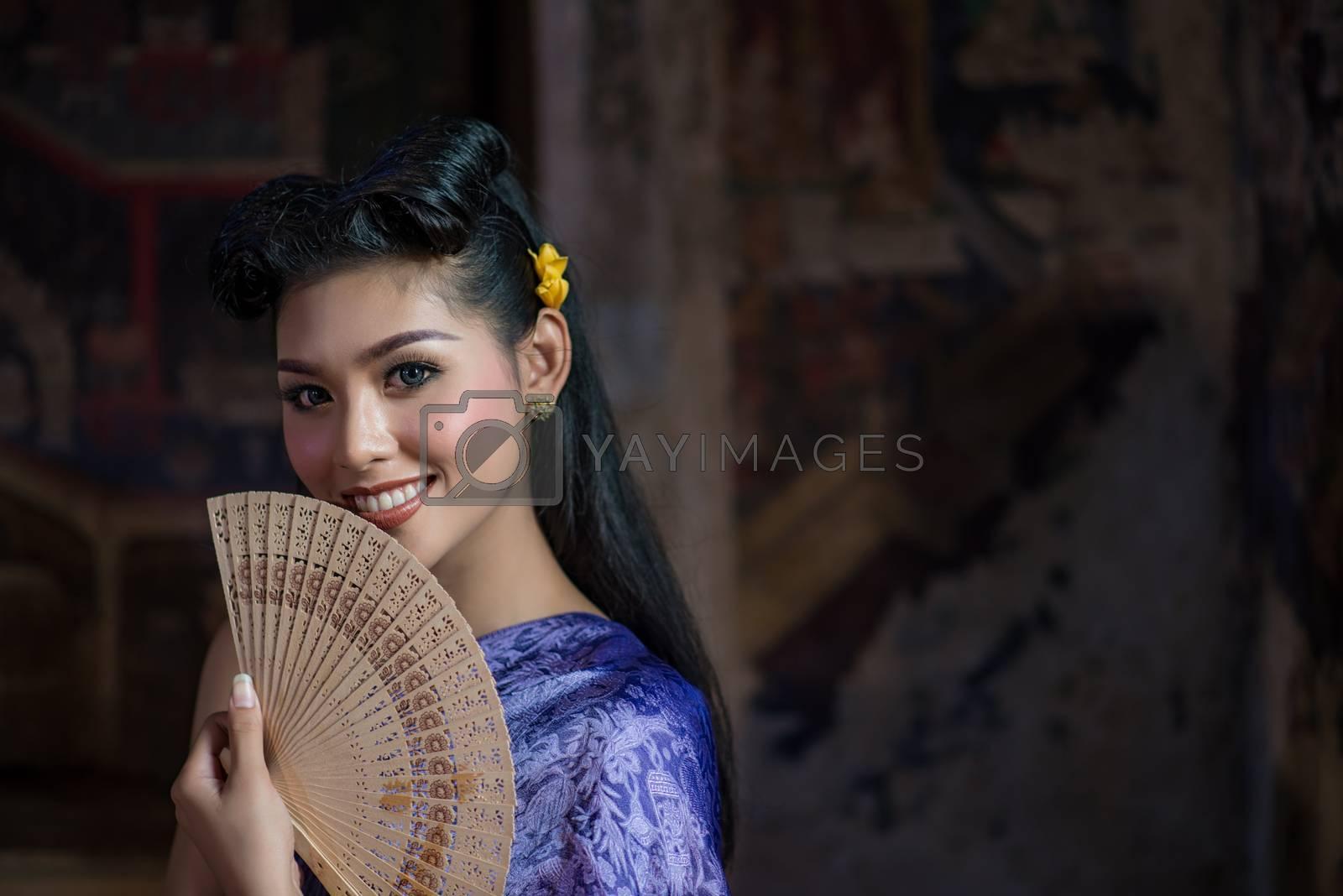 Beautiful Thai girl in Thai traditional costume. Ayuttaya style. ,identity culture of Thailand,Thai girl,Happy asian woman
