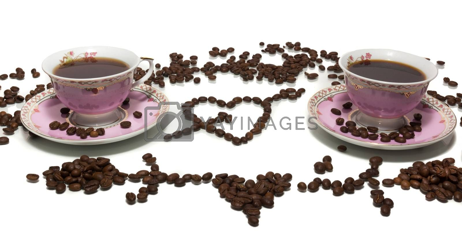 The photograph shows a coffee on a white background
