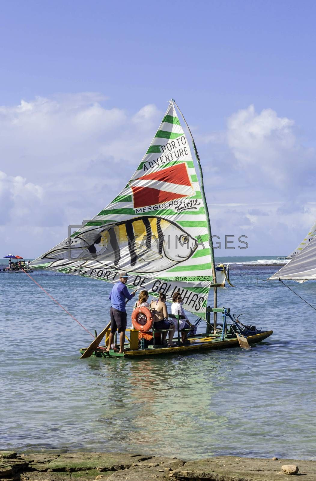 Royalty free image of Beach with typical sail boats of northeast Brazil by marphotography