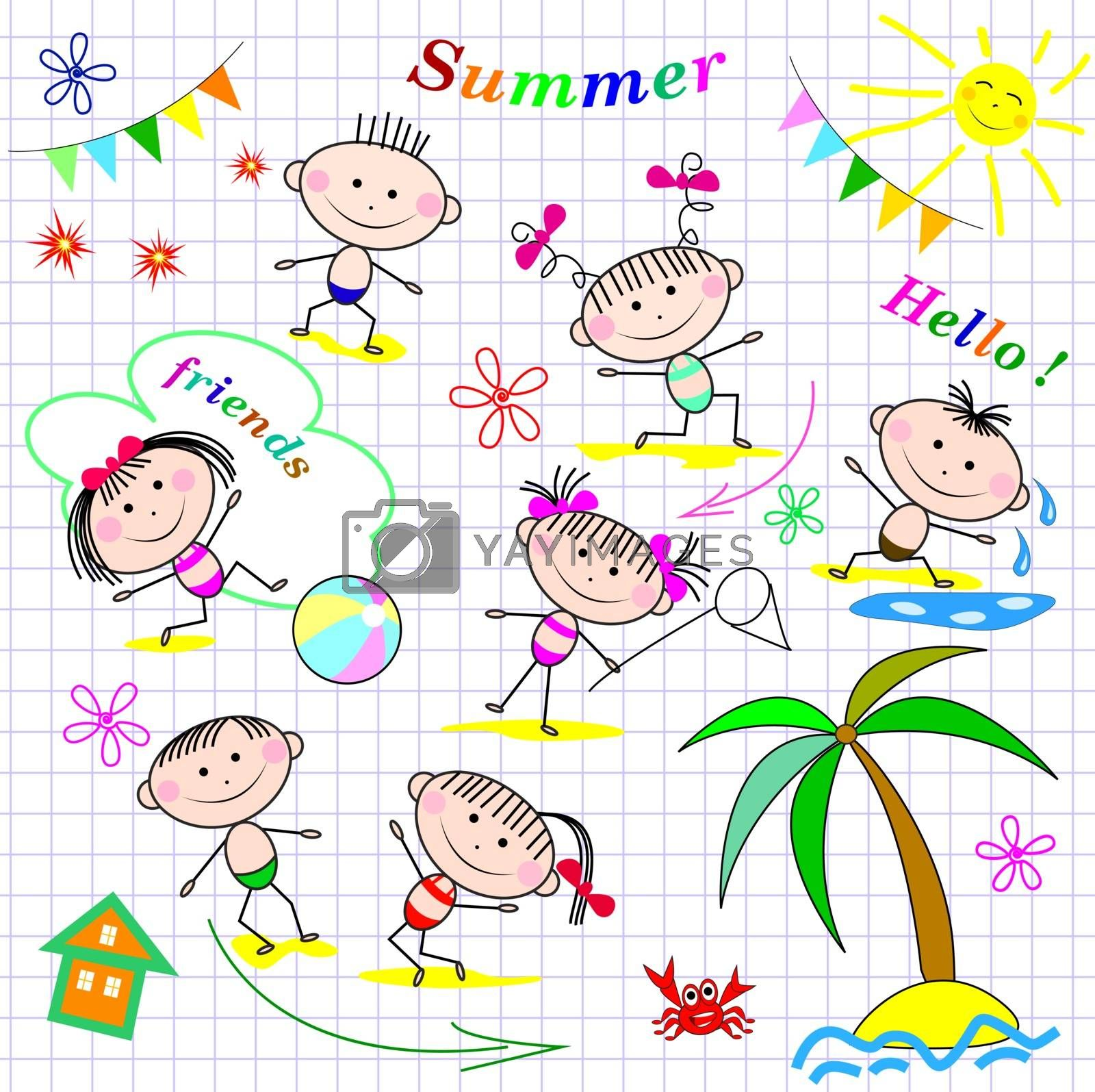 Small children at the beach. Children having fun and relaxing in the summer.