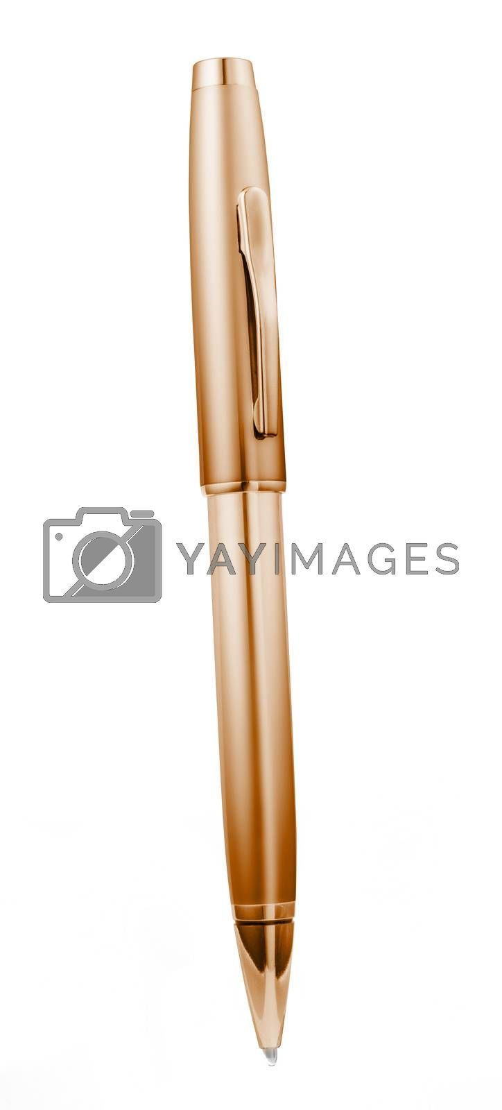 Copper metal pen isolated on white background