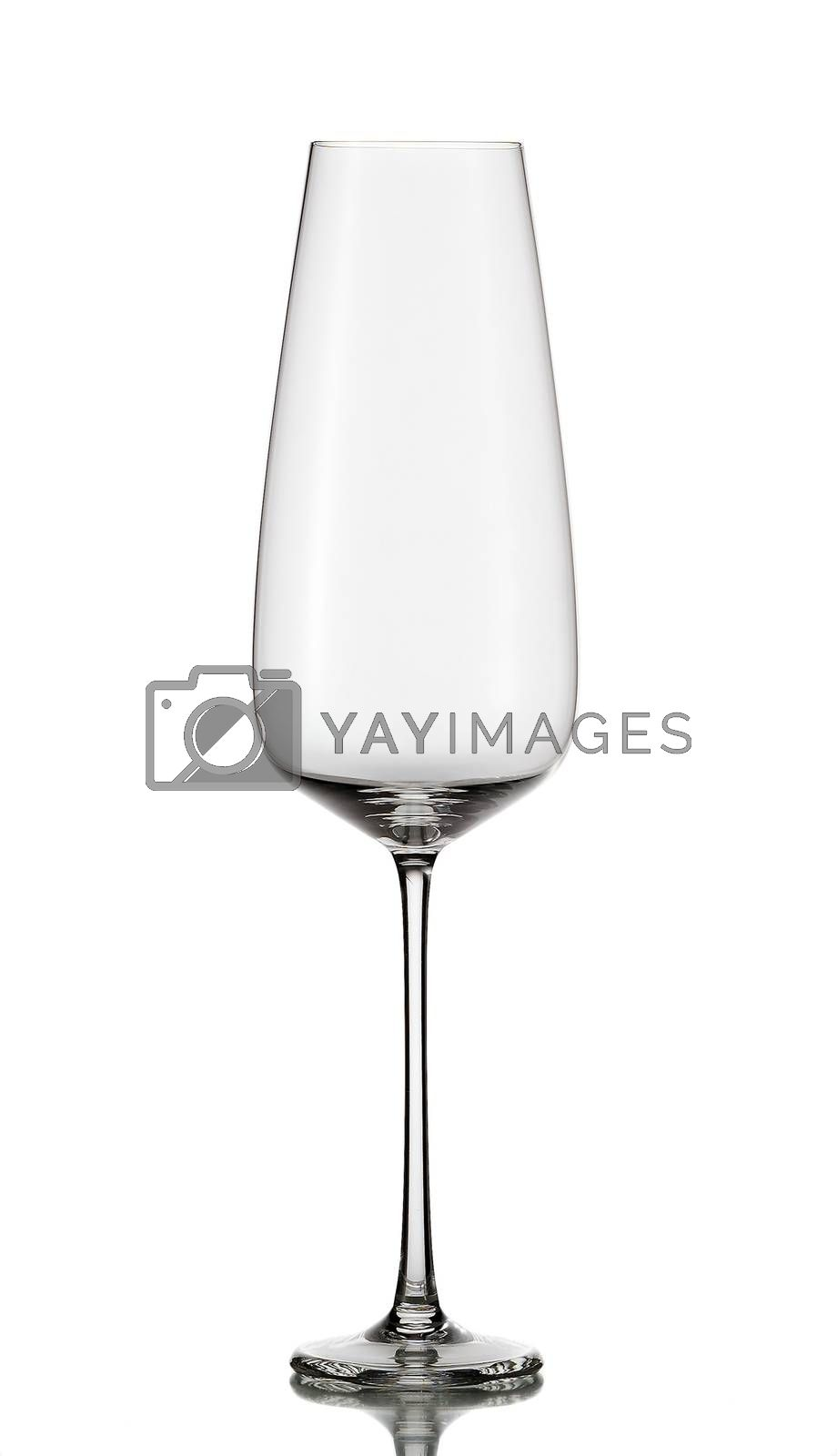 empty champagne glass isolated on white background