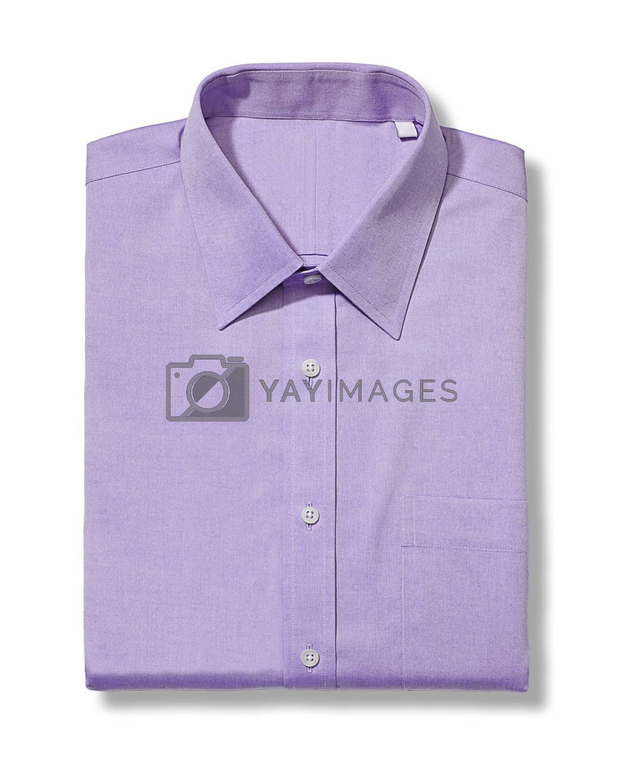 classic long sleeve violet shirt isolated on white background