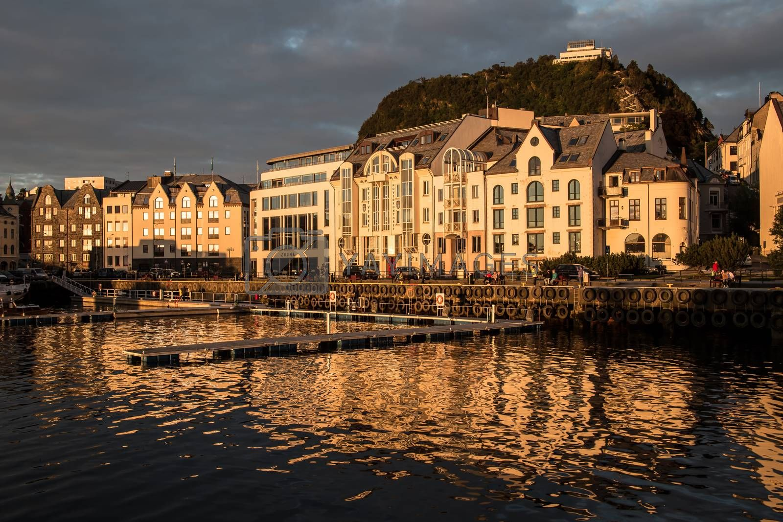 Beautiful Norwegian city of Ålesund, late summer sun.