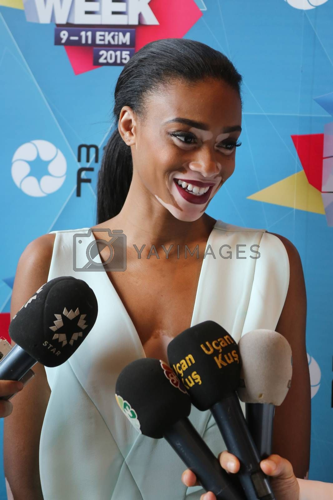 ISTANBUL, TURKEY - OCTOBER 10, 2015: Model Chantelle Brown Young interview after catwalk in Forum Fashion Week