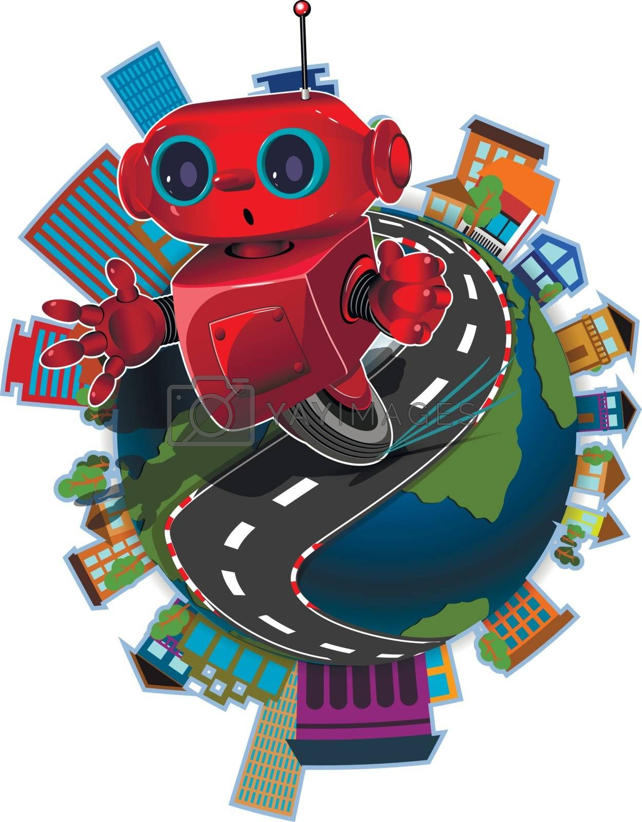 Illustration red robot on the road around the globe