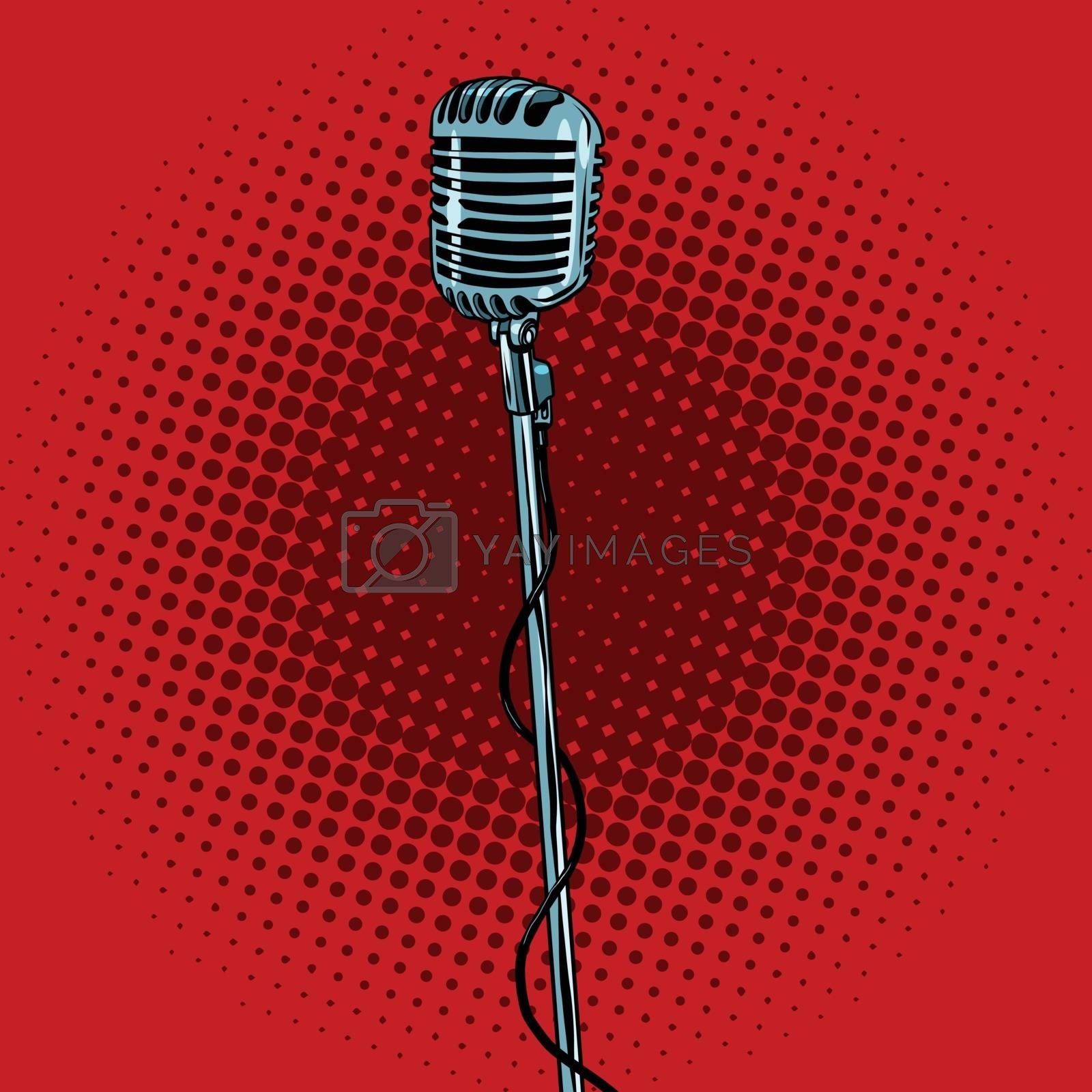 retro microphone and stand, pop art vector illustration. Music and concert