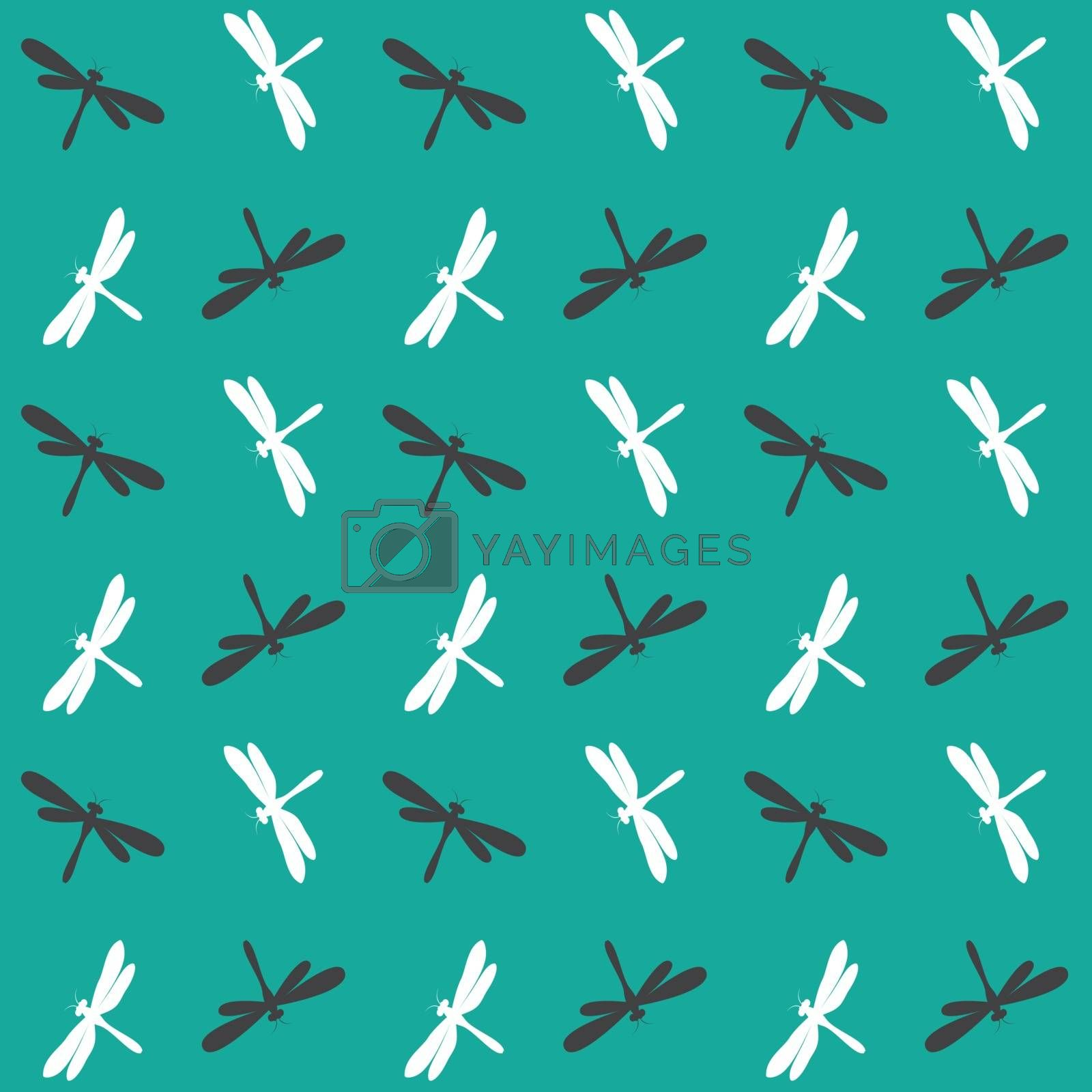 Dragonfly vector art background design for fabric and decor. Sea by yod67