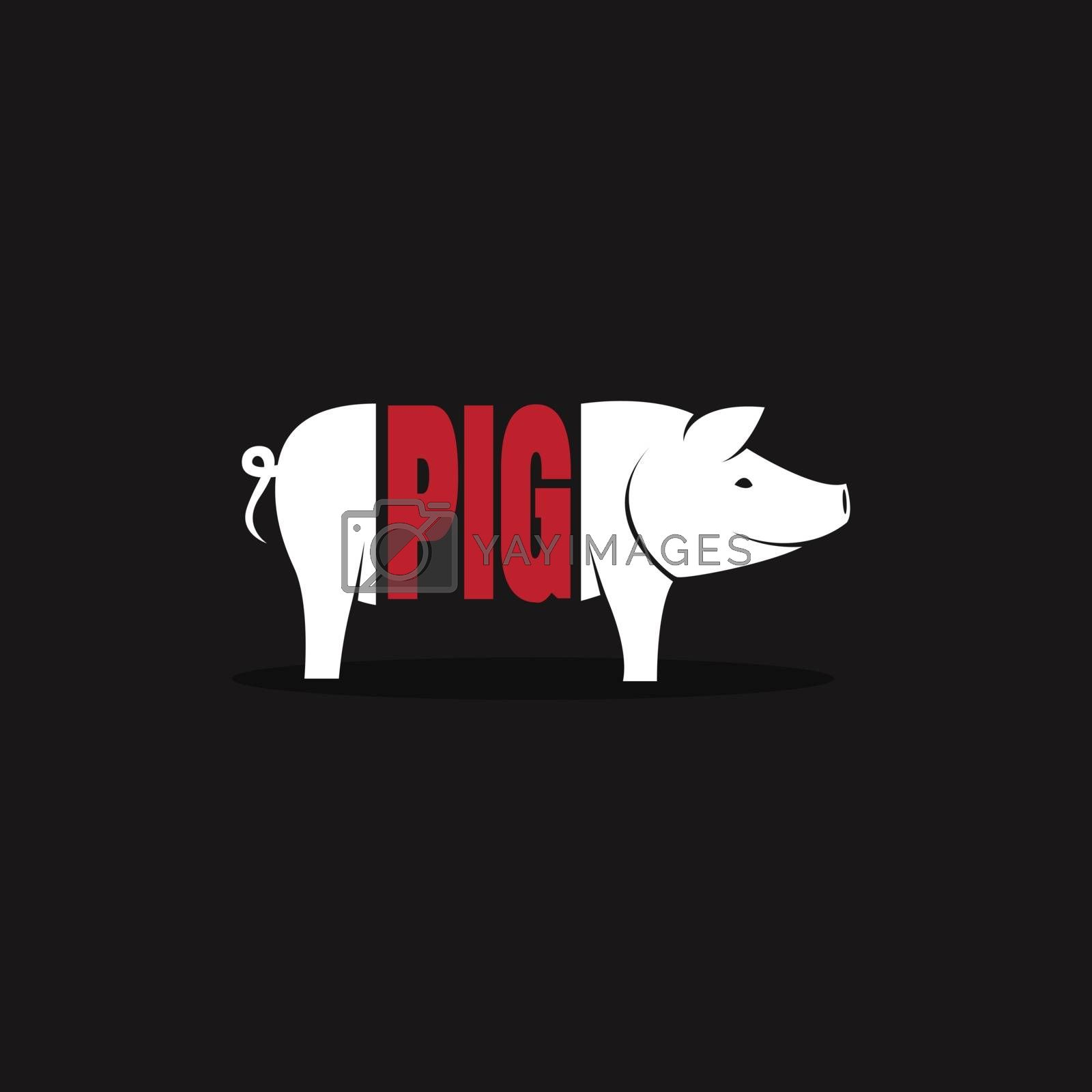 Vector design pig is text on black background. Logo, Symbol by yod67