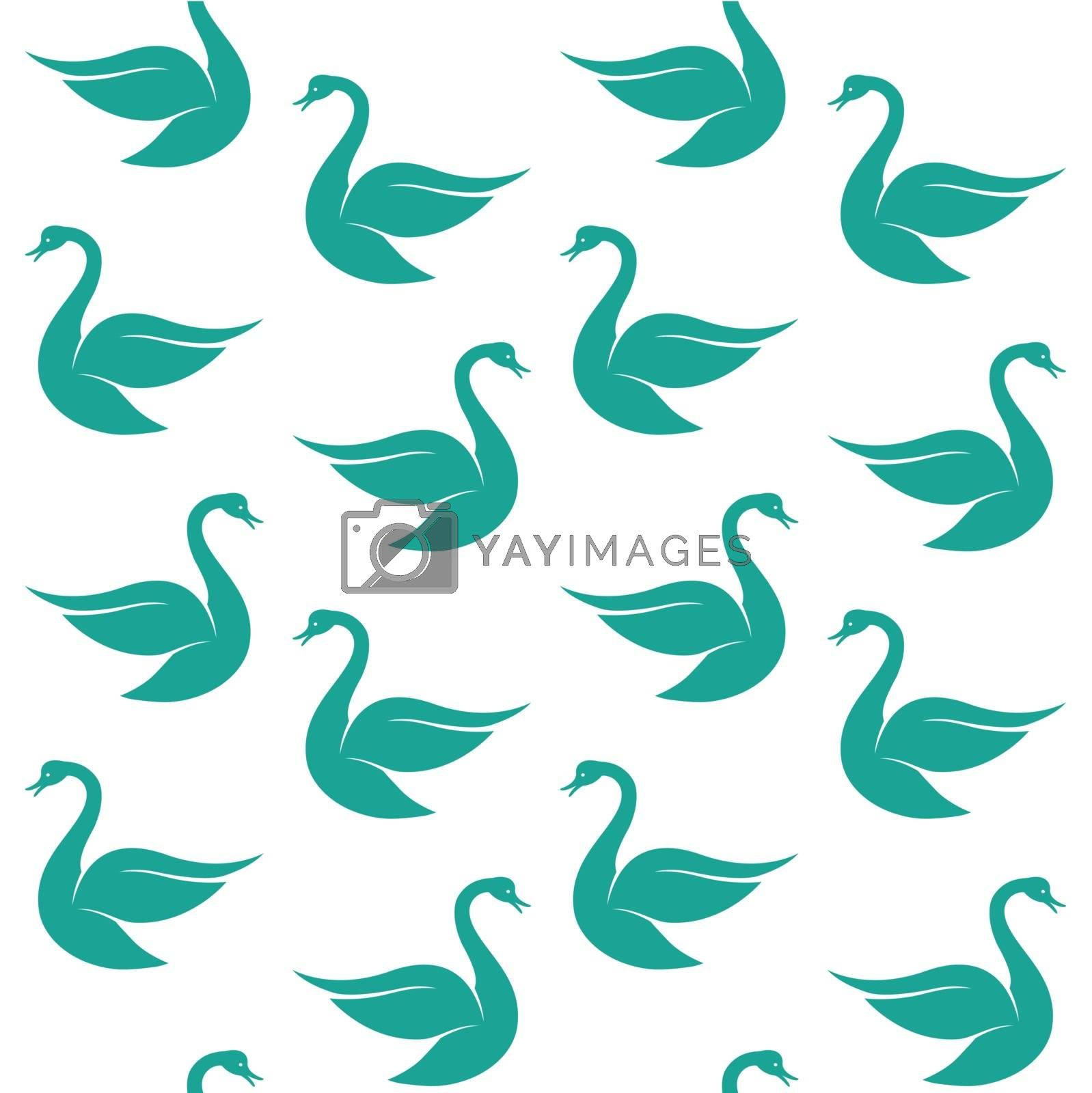Vector seamless pattern with blue swan on white background. wall by yod67