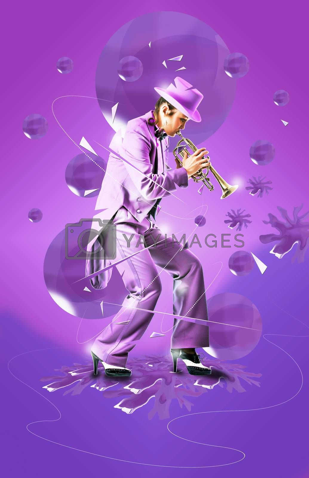Abstract design of woman in tuxedo playing a trumpet