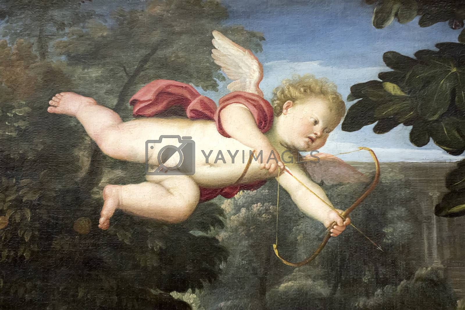 an angel on an old painting by magann