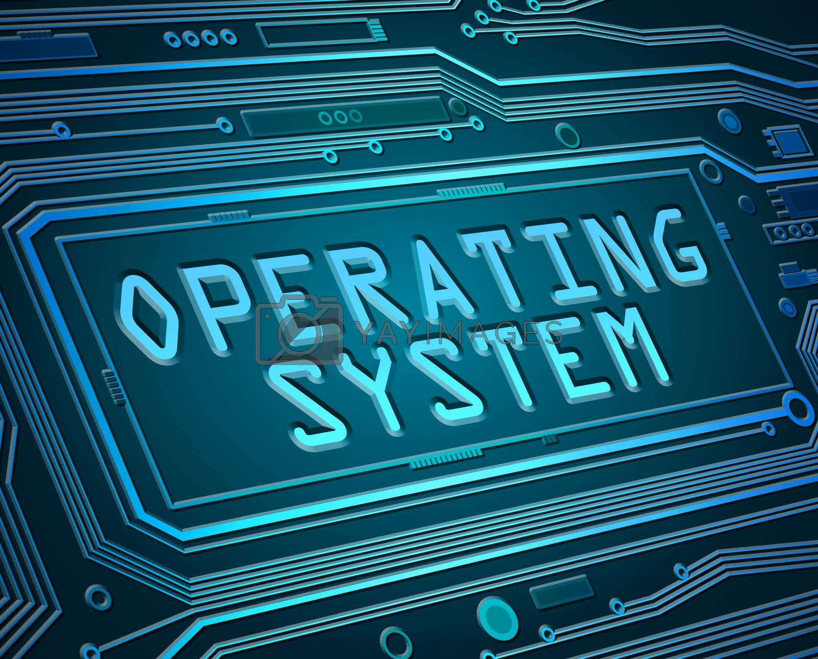 Abstract style illustration depicting printed circuit board components with an operating system concept.