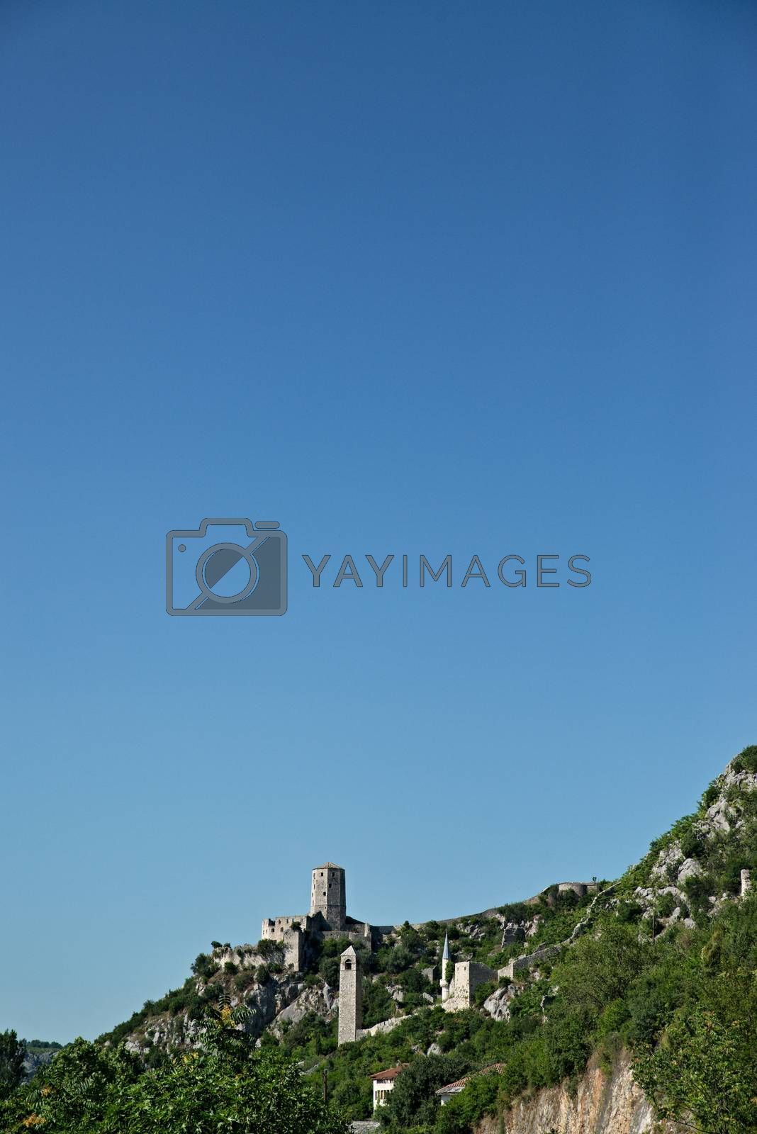 nice Panoramic view of Pocitelj, medieval city in Bosnia and Hercegovina