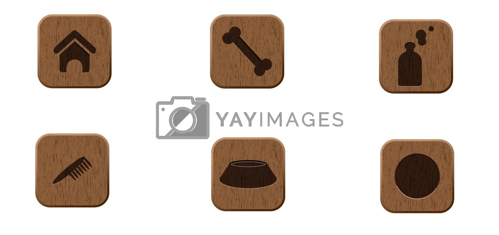 Pets wooden icons set vector illustration eps 8