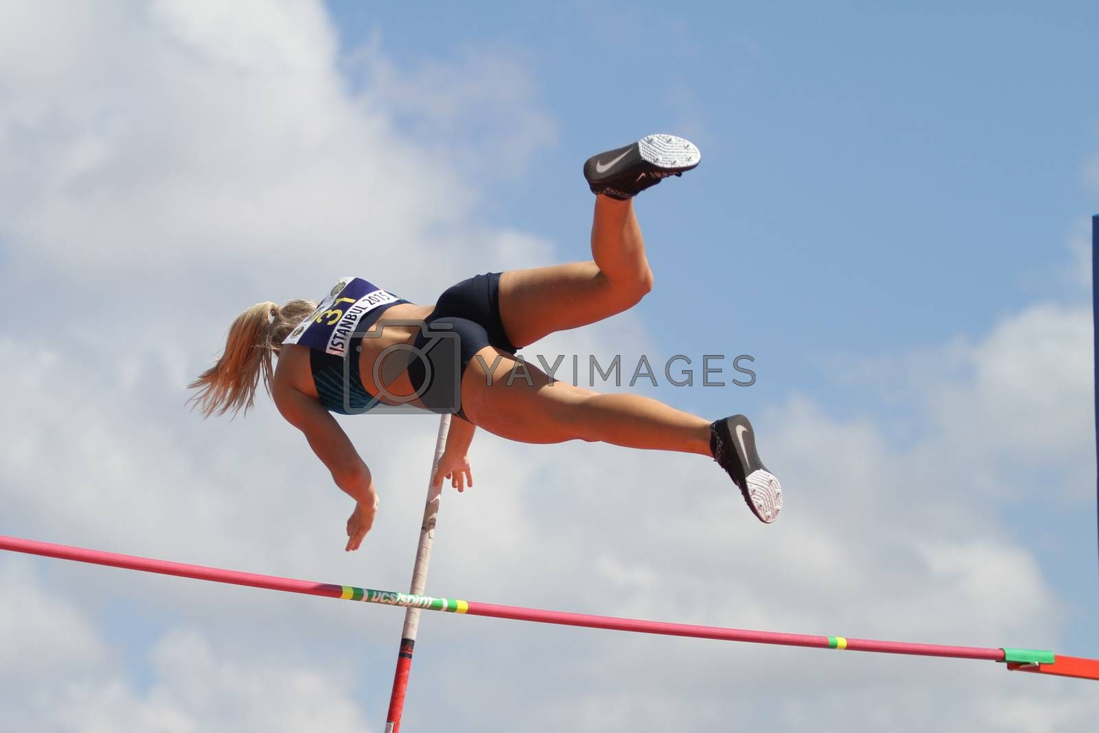 ISTANBUL, TURKEY - SEPTEMBER 19, 2015: Athlete Mira Guldbrandsen pole vaulting during European Champion Clubs Cup Track and Field Juniors Group A